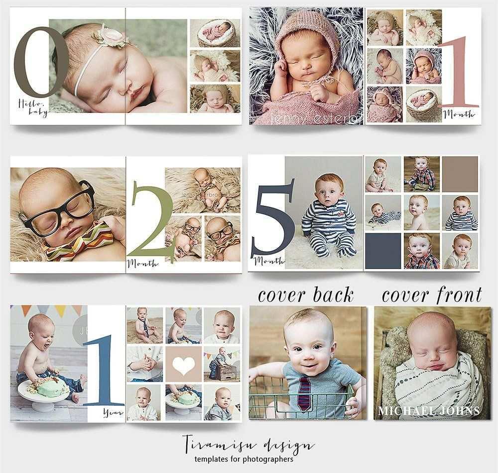 Baby Album Photoshop Template Baby Photo Album Newborn Photo Album For Photographers Baby First Year Photobook Template For Photoshop Baby Photo Books Baby Photo Album Baby Album