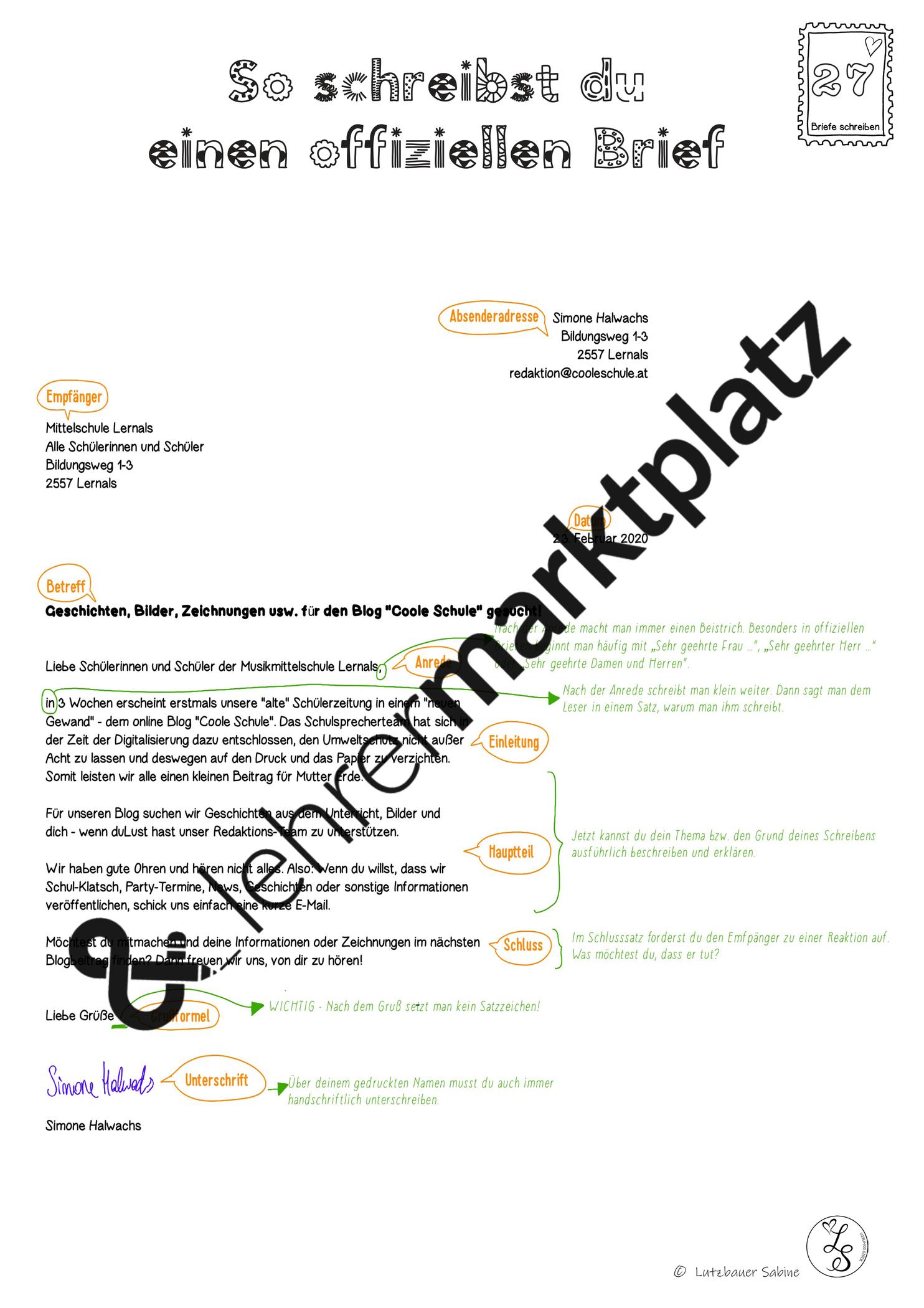 Beispiel Offizieller Brief Themenplan Beispiel Offizieller Themenplan Offizieller Brief Brief Bildung