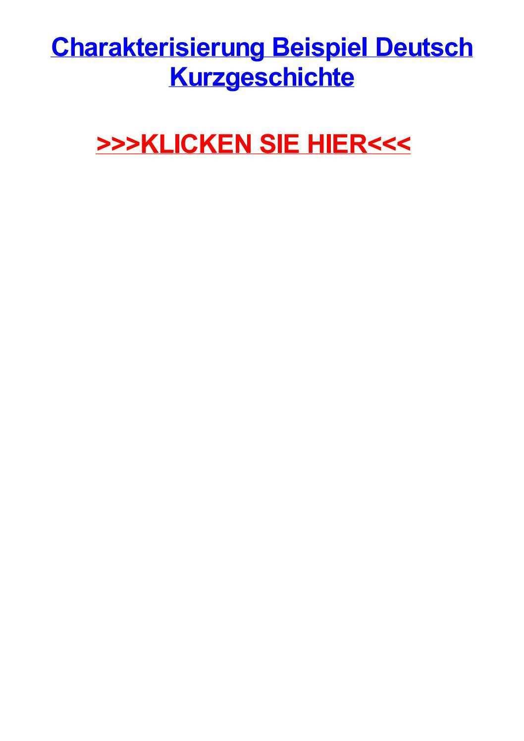 Charakterisierung Beispiel Deutsch Kurzgeschichte By Amyohwb Issuu