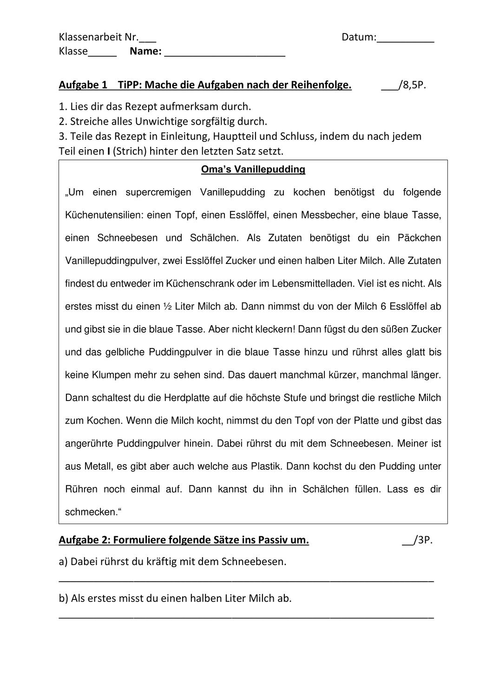 Klassenarbeit Klasse 6 7 Vorgangsbeschreibung Und Aktiv Passiv Unterrichtsmaterial Im Fach Deutsch Vorgangsbeschreibung Klassenarbeiten Erste Klasse