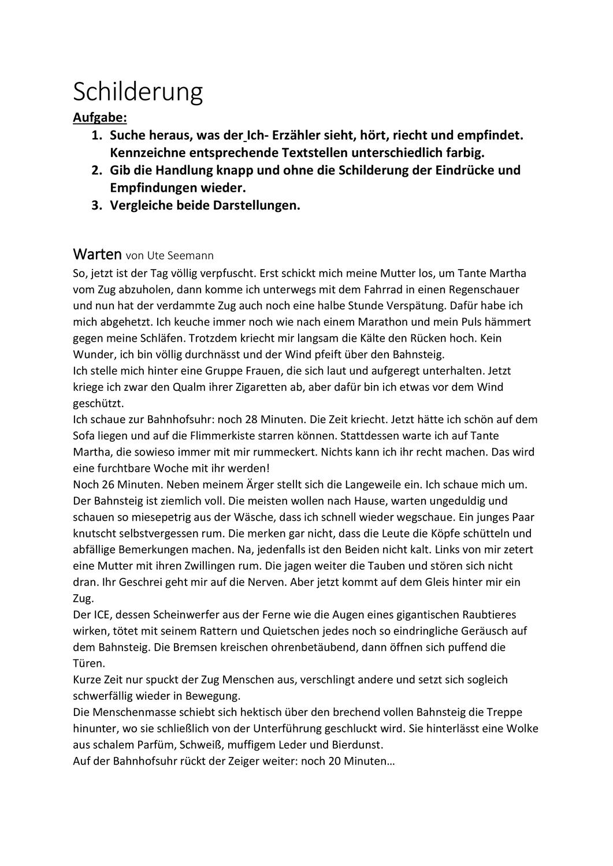 Arbeitsblatt Schilderung Unterrichtsmaterial Im Fach Deutsch Arbeitsblatter Unterrichtsmaterial Arbeit