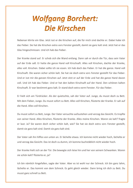 Kurzgeschichte Wolfgang Borchert Die Kirschen Analyse Kurzgeschichten Geschichte Inhaltsangabe
