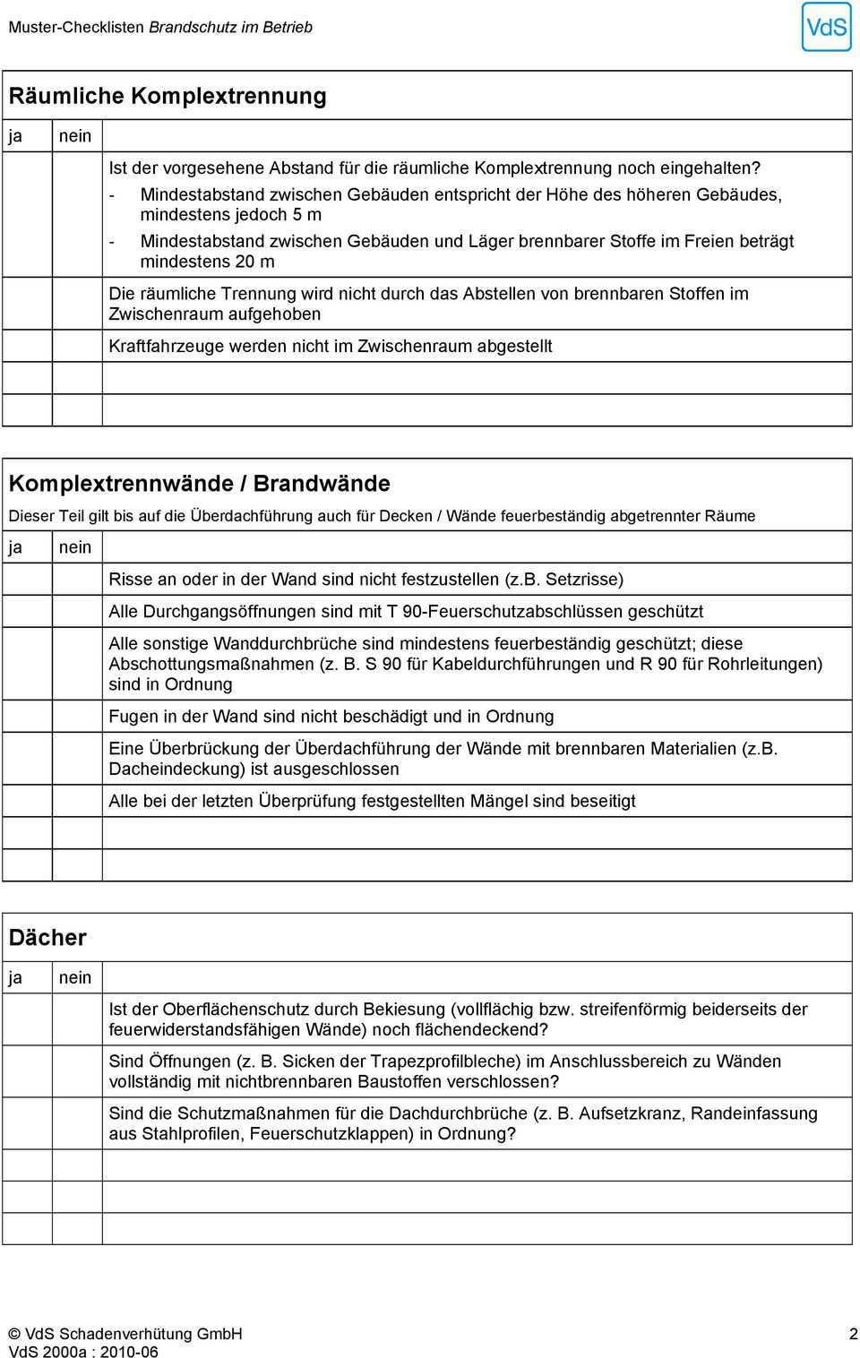 Muster Checklisten Brandschutz Im Betrieb Pdf Kostenfreier Download