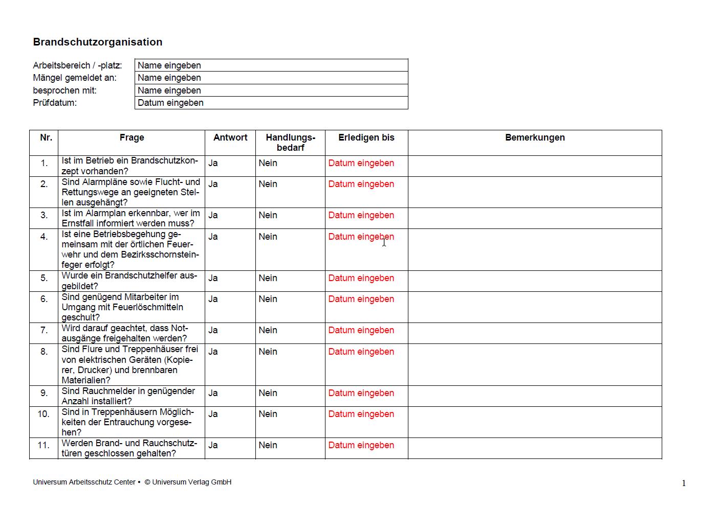 Checkliste Brandschutz Im Buro