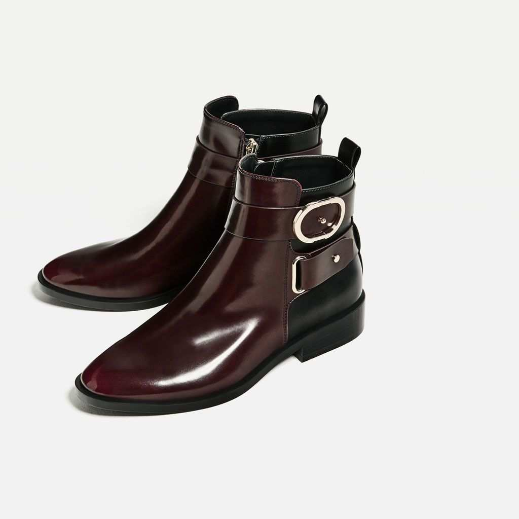 Contrast Buckle Ankle Boots Ankle Boots Shoes Woman Zara United States Stiefel Schuh Stiefel Schnallenstiefel
