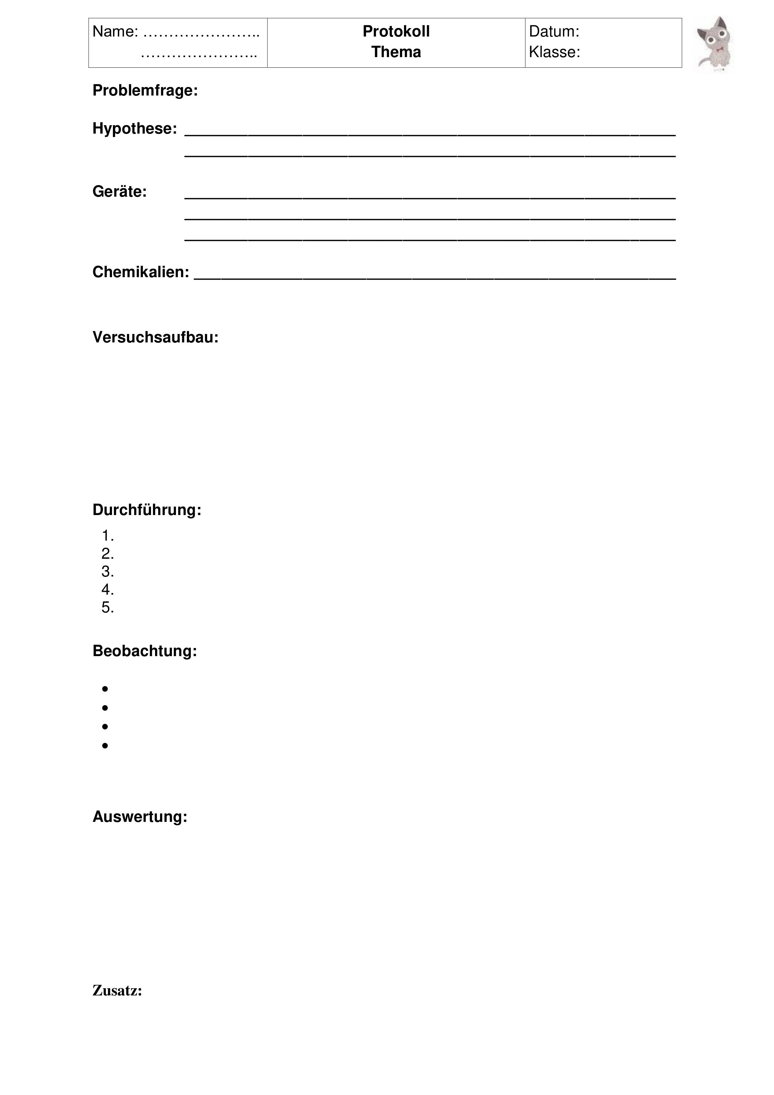 Experimente Protokoll Vorlage Vorlagen Unterrichtsmaterial Chemieunterricht