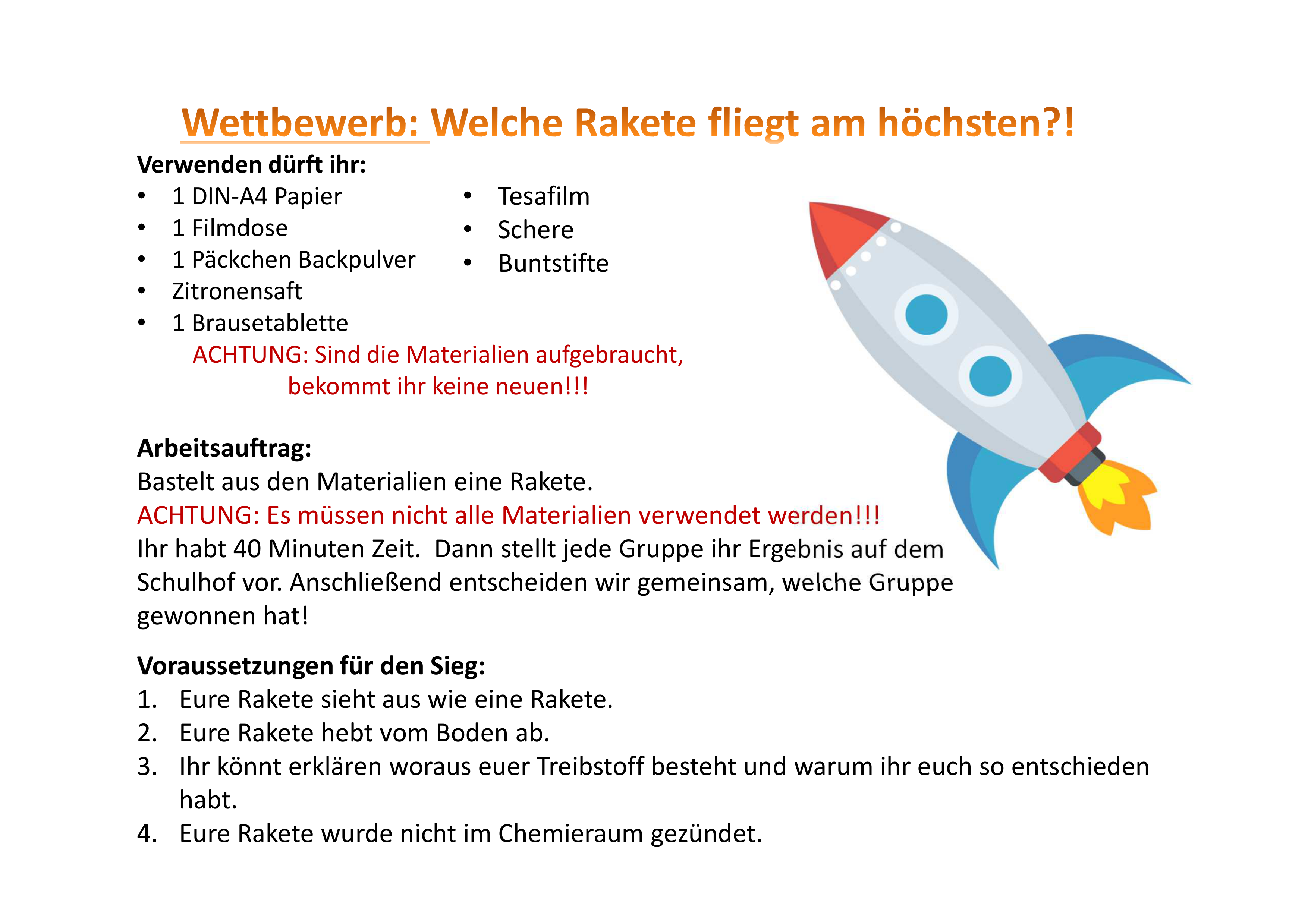 Rakete Basteln Unterrichtsmaterial In Den Fachern Chemie Fachubergreifendes Physik Chemische Reaktion Chemie Chemische Formel