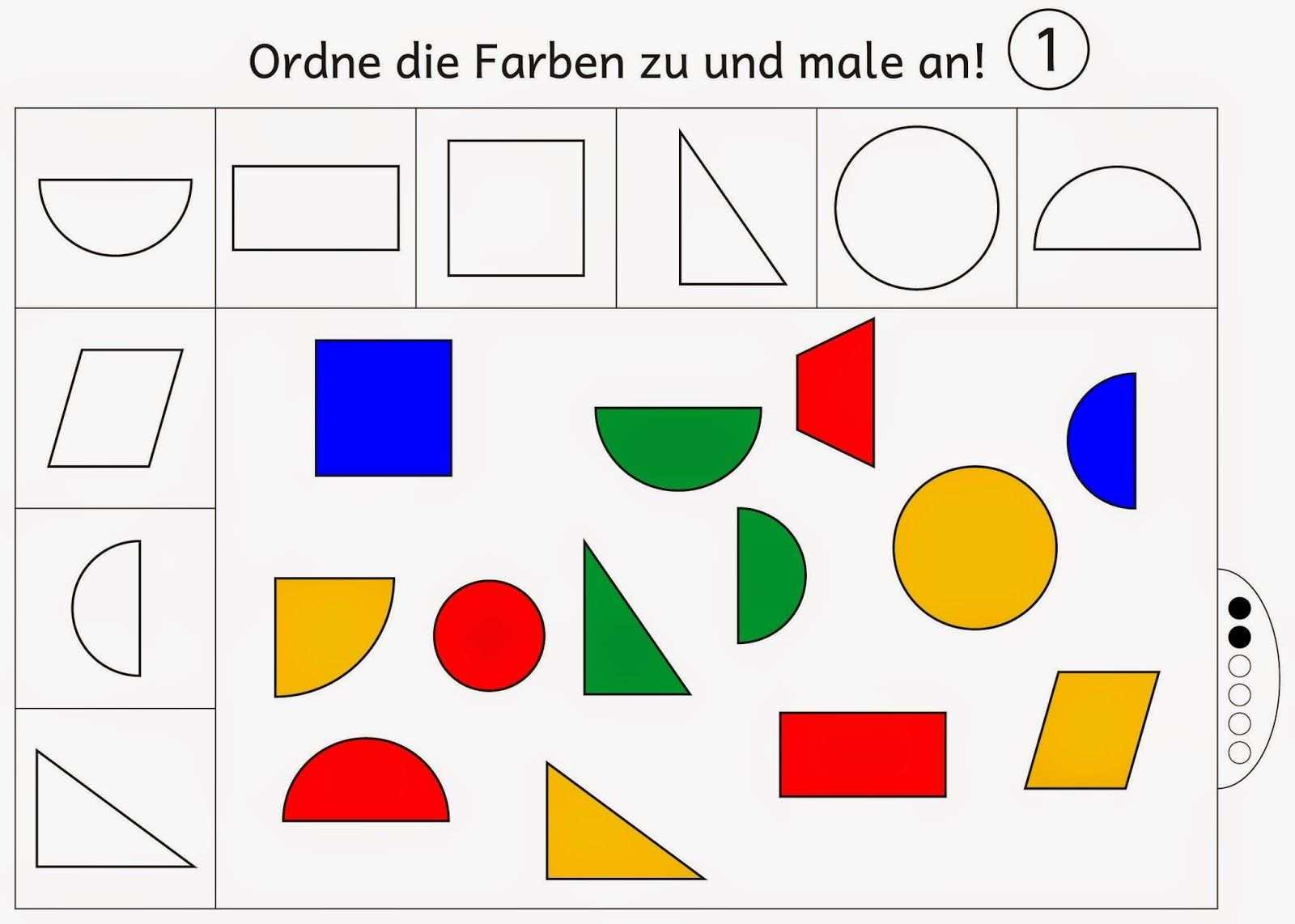 Farben Zuordnen Und Anmalen Level 2 Vorschulprojekte Vorschule Kindergarten Formen