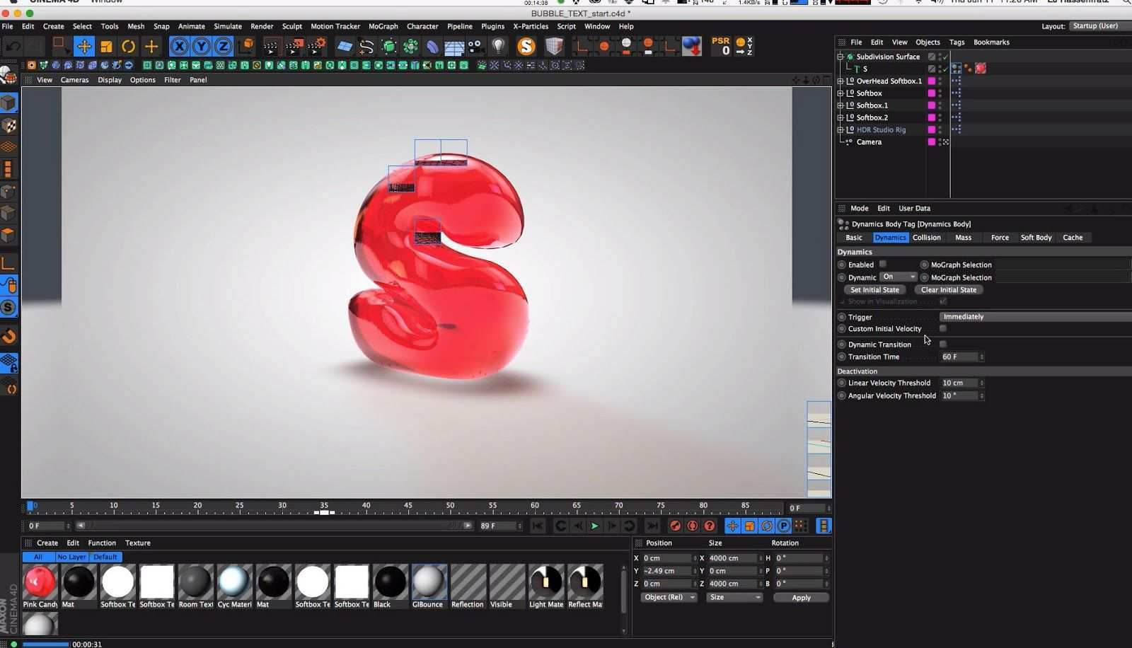 Creating Bubble Text In Cinema 4d Cg Tutorials Library Cinema 4d Cinema 4d Tutorial Cinema 4d Materials