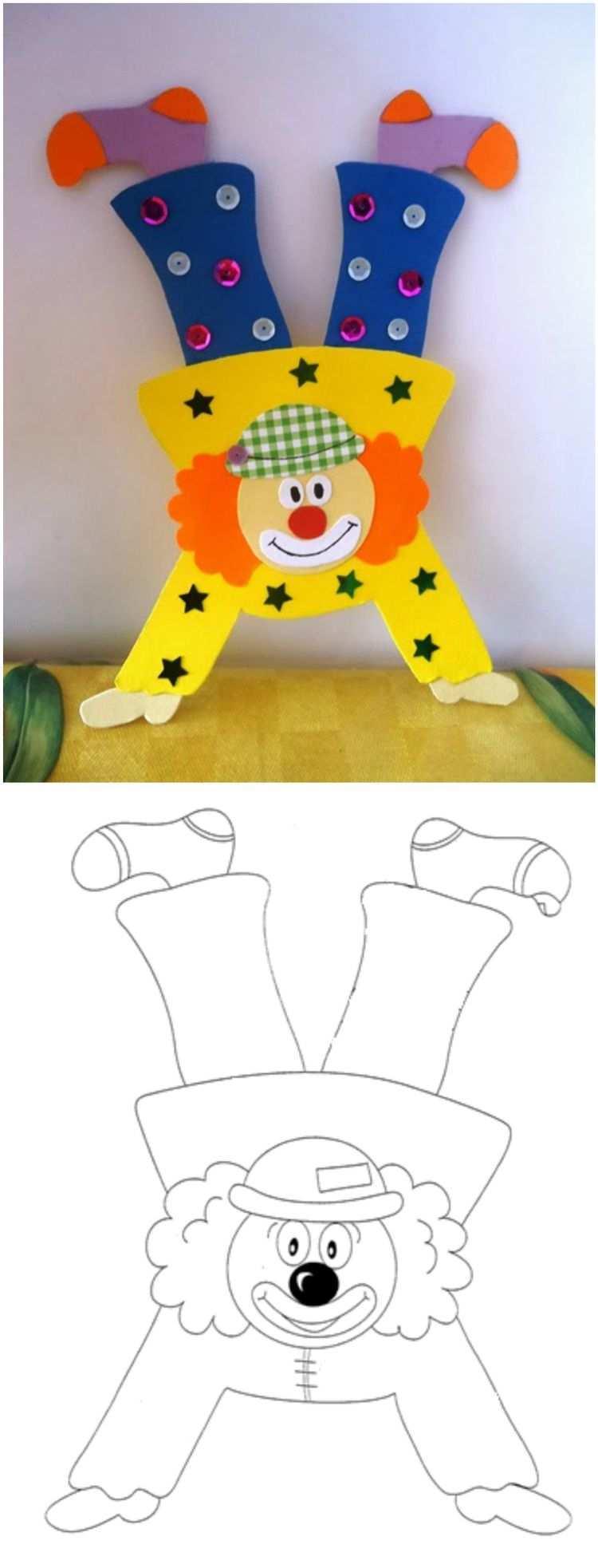 Tonpapier Clown Basteln Vorlage Auf Handen Laufen Clown Basteln Vorlage Clown Basteln Fasching Basteln