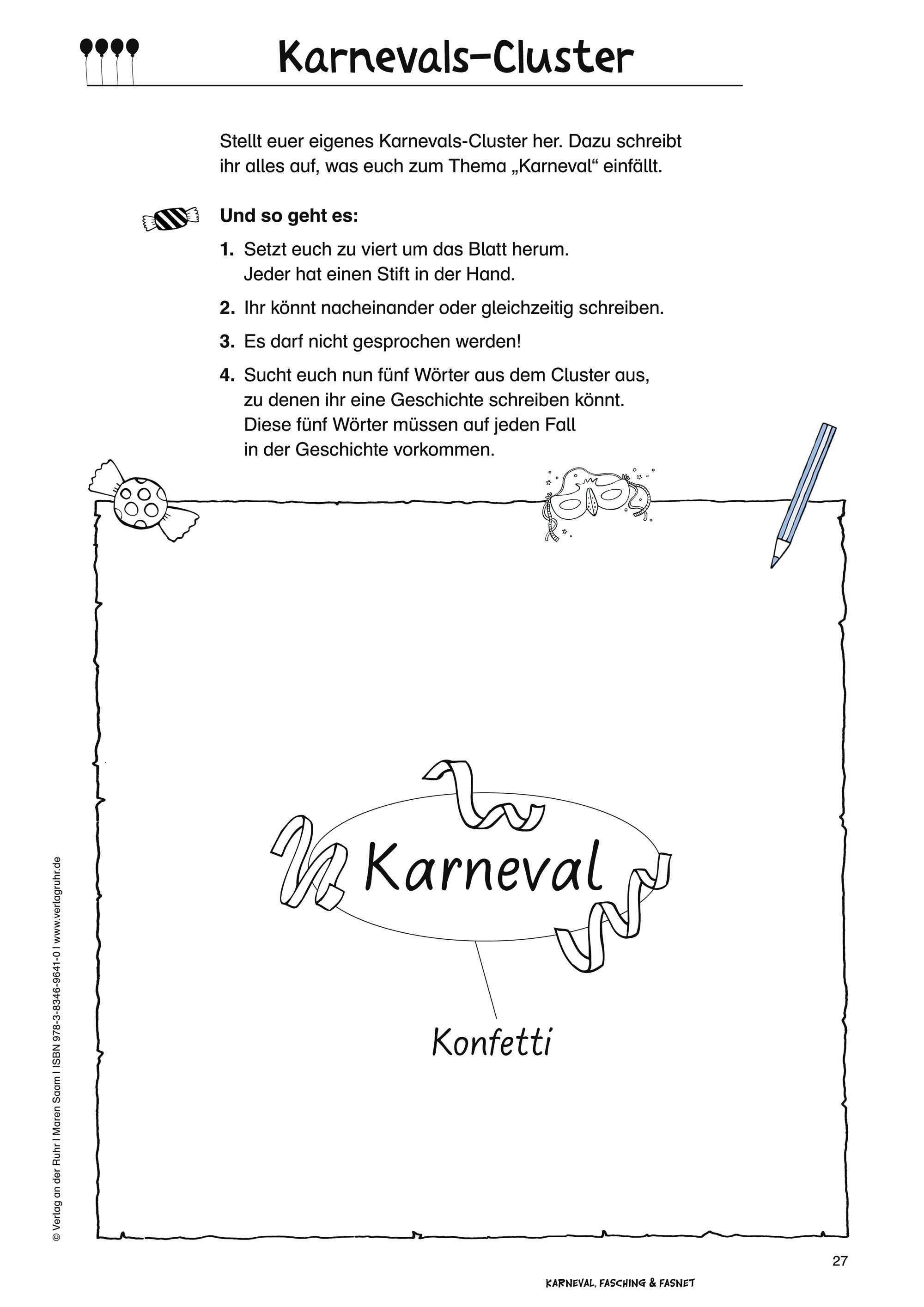 Karnevals Cluster Aus Karneval Fasching Und Fasnet Eine Werkstatt Grundschule Sachunterricht Klasse 1 4 Werden Sie M Grundschule Fasching Schule