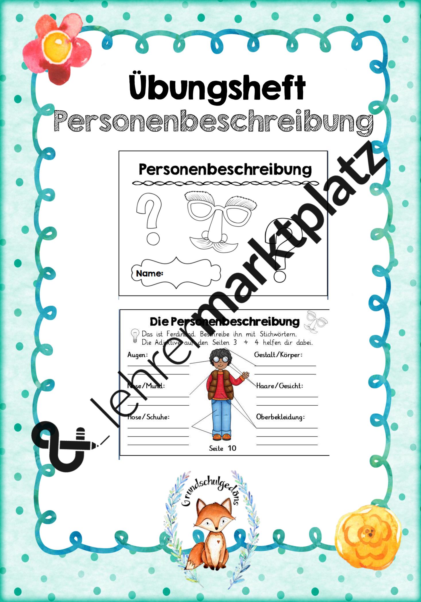 Heft Personenbeschreibung Unterrichtsmaterial Im Fach Deutsch Personenbeschreibung Unterrichtsmaterial Personenbeschreibung Grundschule