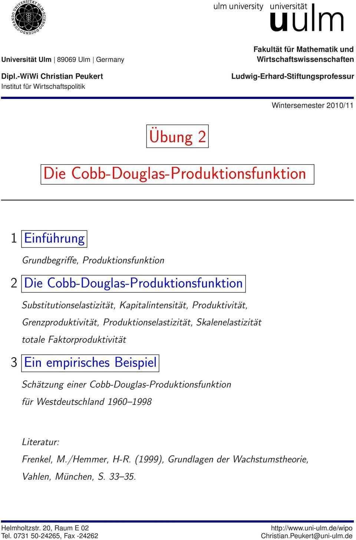Die Cobb Douglas Produktionsfunktion Pdf Kostenfreier Download