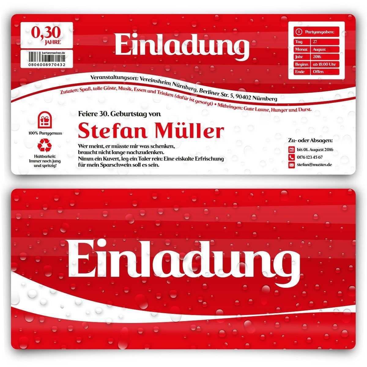 Einladungskarten Als Cola Geburtstag Einladung Geburtstagseinladung Cocacola Cola Birthday Invitation Einladungen Cola Einladung Geburtstag
