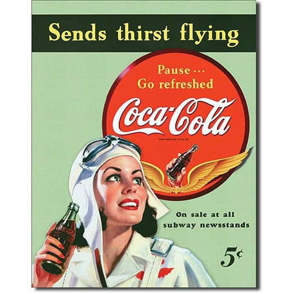 Coca Cola Sippin Metall Coca Cola Sends Thirst Flying Amazon De Kuche Haushalt Coca Cola In 2019 Coca Cola Vintage Werbung Und Werbung