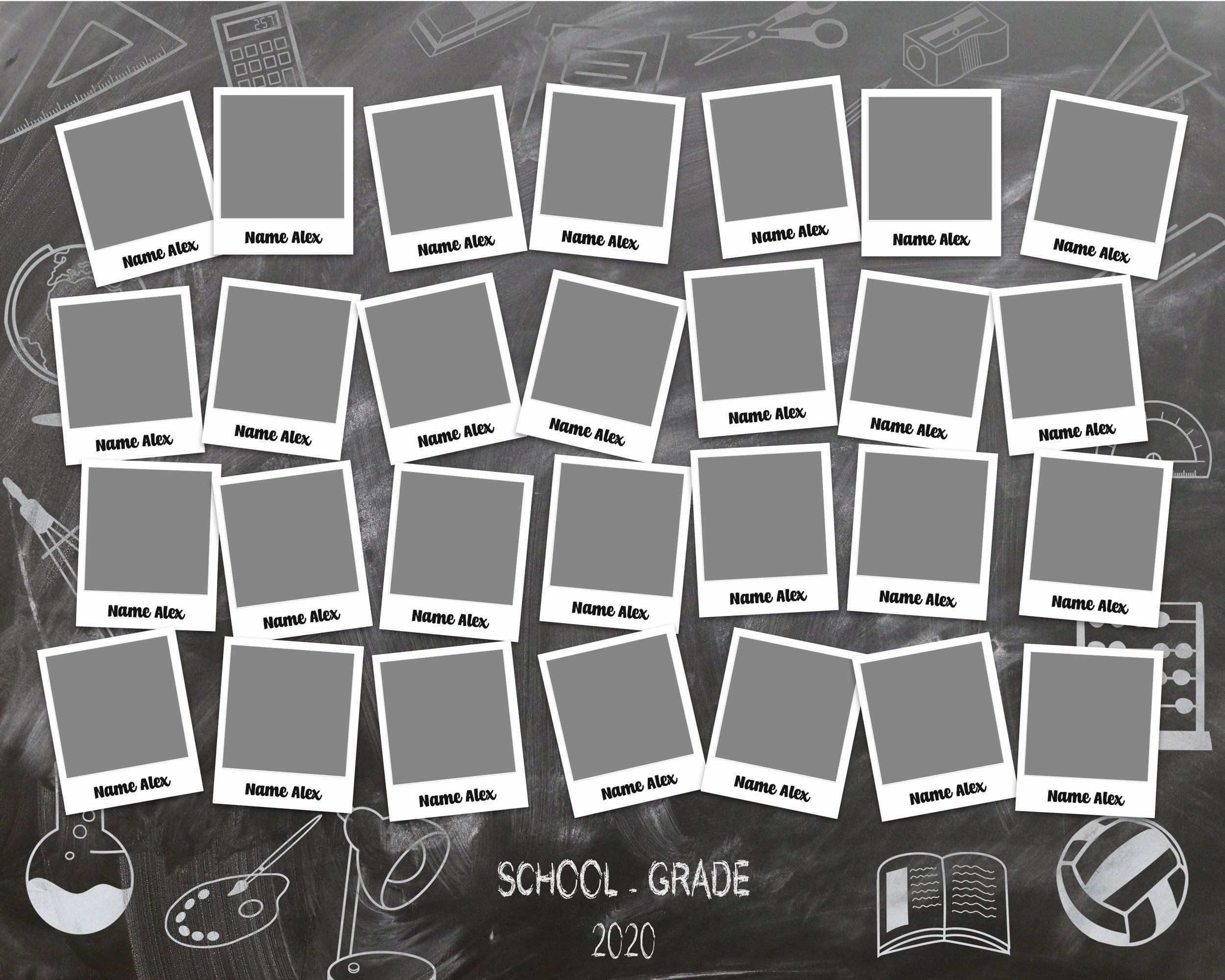 Custom Class Photo Collage Template For School Kindergarten Classroom Layered Psd File Yearbook 8x10 3 2 Instant Download Photo Collage Template Collage Template Photo Collage