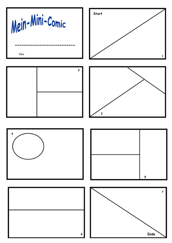 Mini Comic Vorlage Unterrichtsmaterial Im Fach Kunst Vorlagen Mini Comic