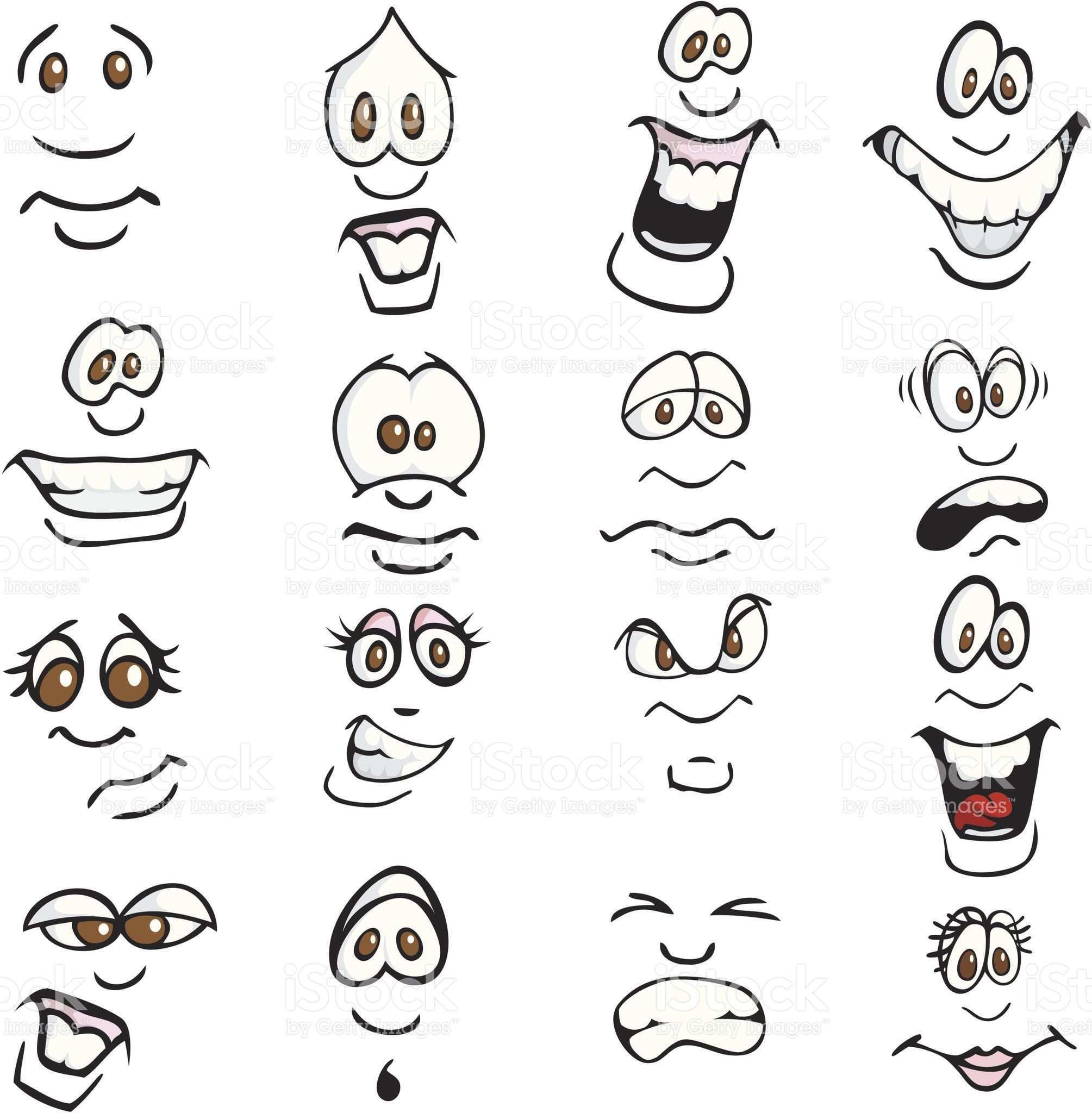 Comic Expressions Lizenzfreies Vektor Illustration Cartoon Zeichnungen Zeichentrickgesichter Gesicht