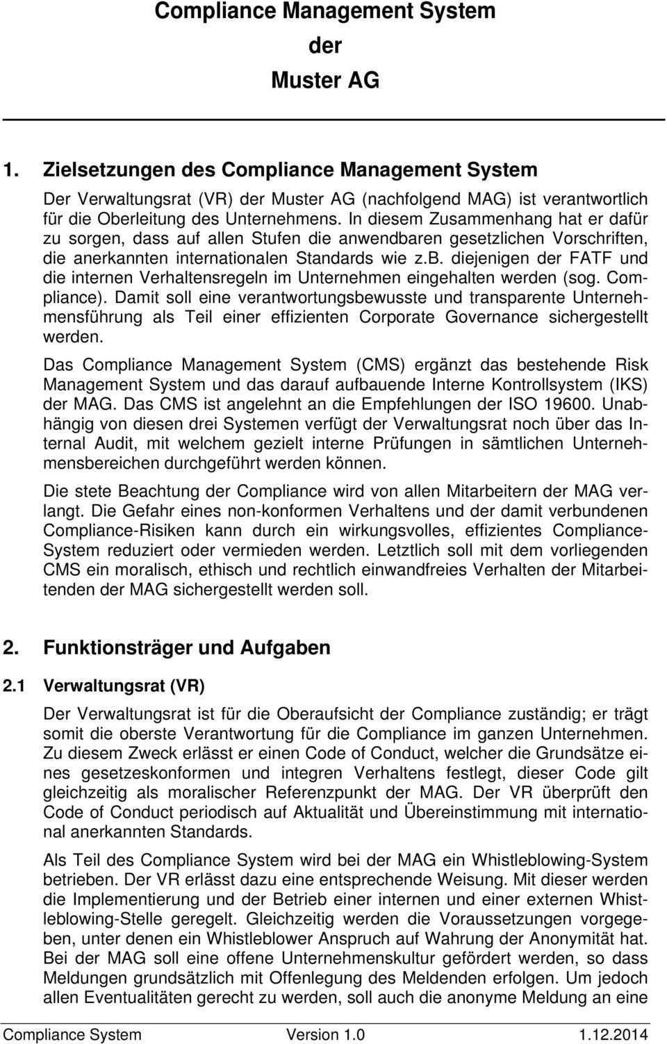 Compliance Management System Der Muster Ag Pdf Free Download