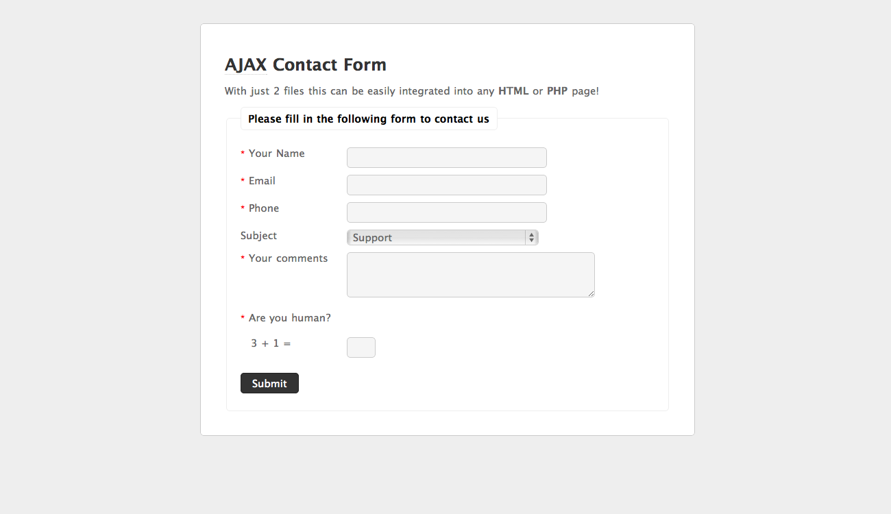 Ajax Contact Form Affiliate Ajax Affiliate Contact Form Contact Form Ajax Form