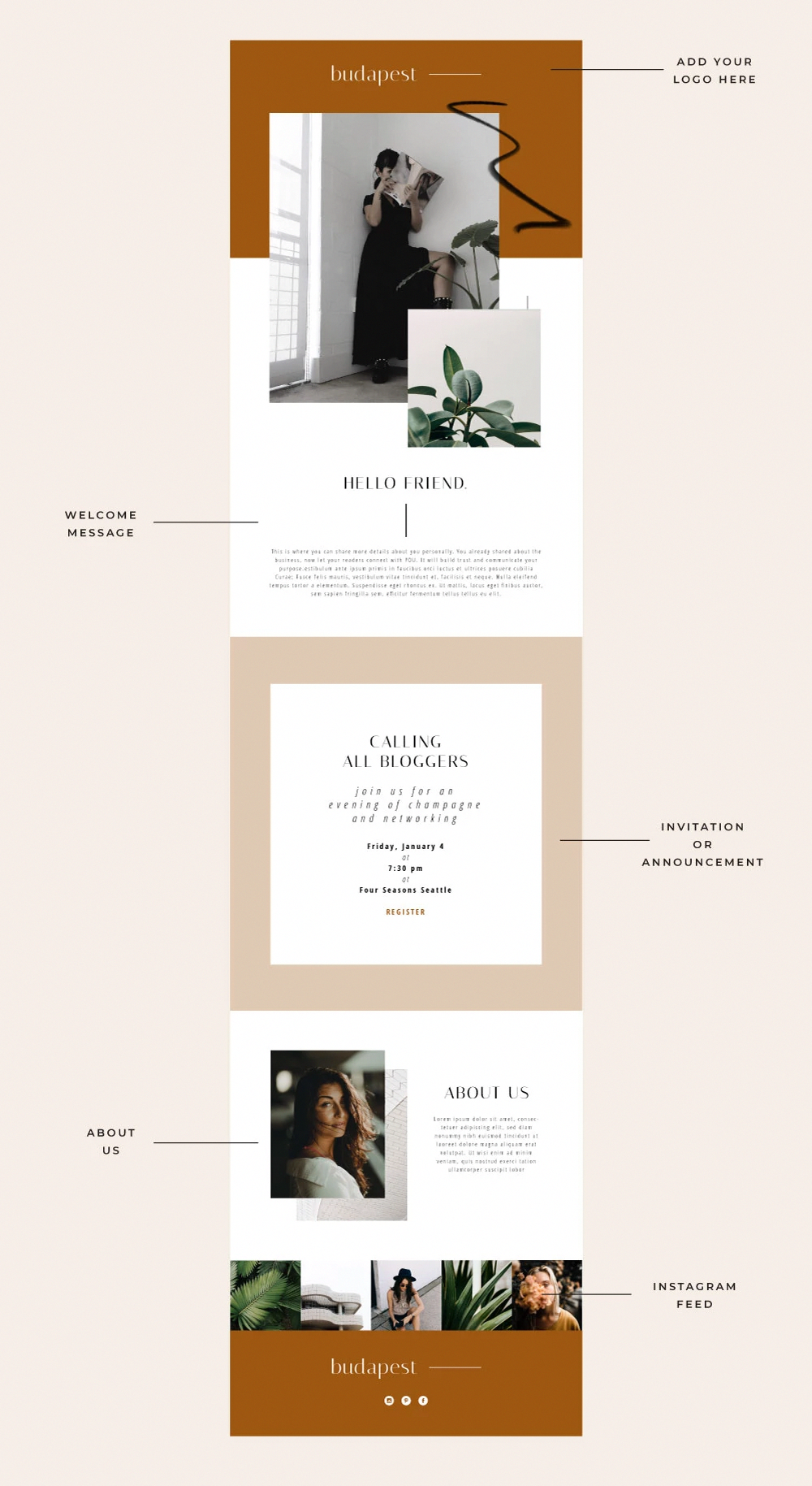 This Email Newsletter Template Was Created To Complement The Budapest Website Template Time To Give Your Email Newsletter In 2020 Web Design E Mail Design Design Web