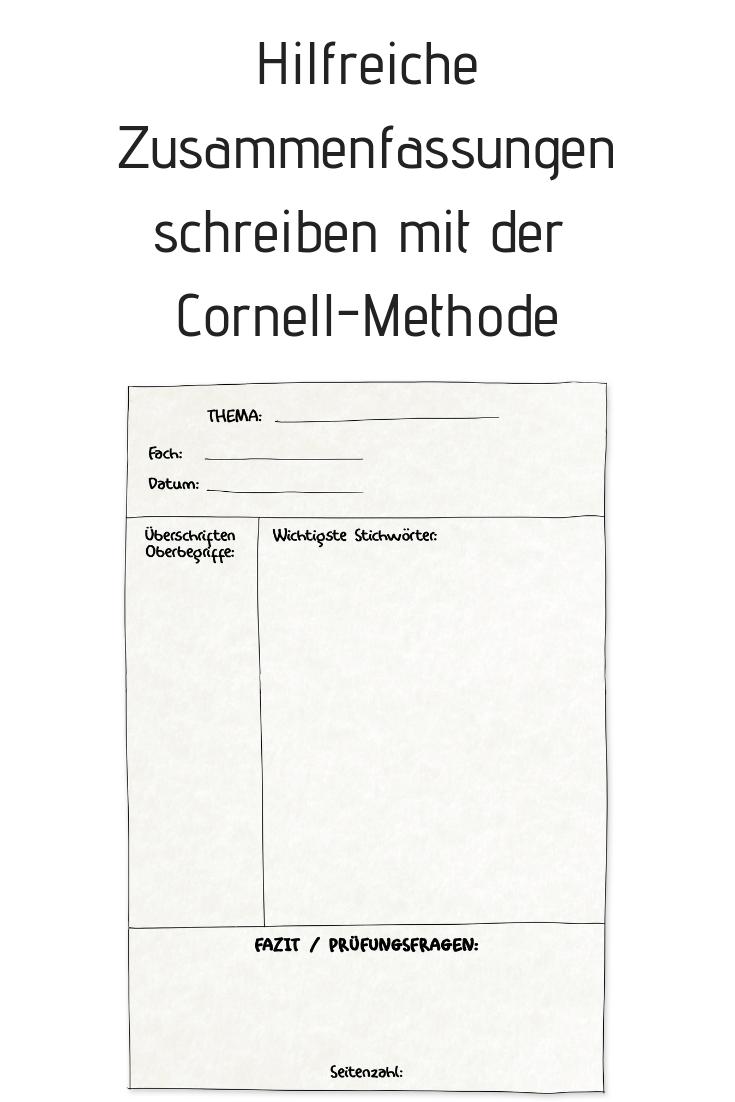 Gute Zusammenfassungen Schreiben Die Cornell Methode Lernen Tipps Schule Selbstgesteuertes Lernen Studieren Tipps