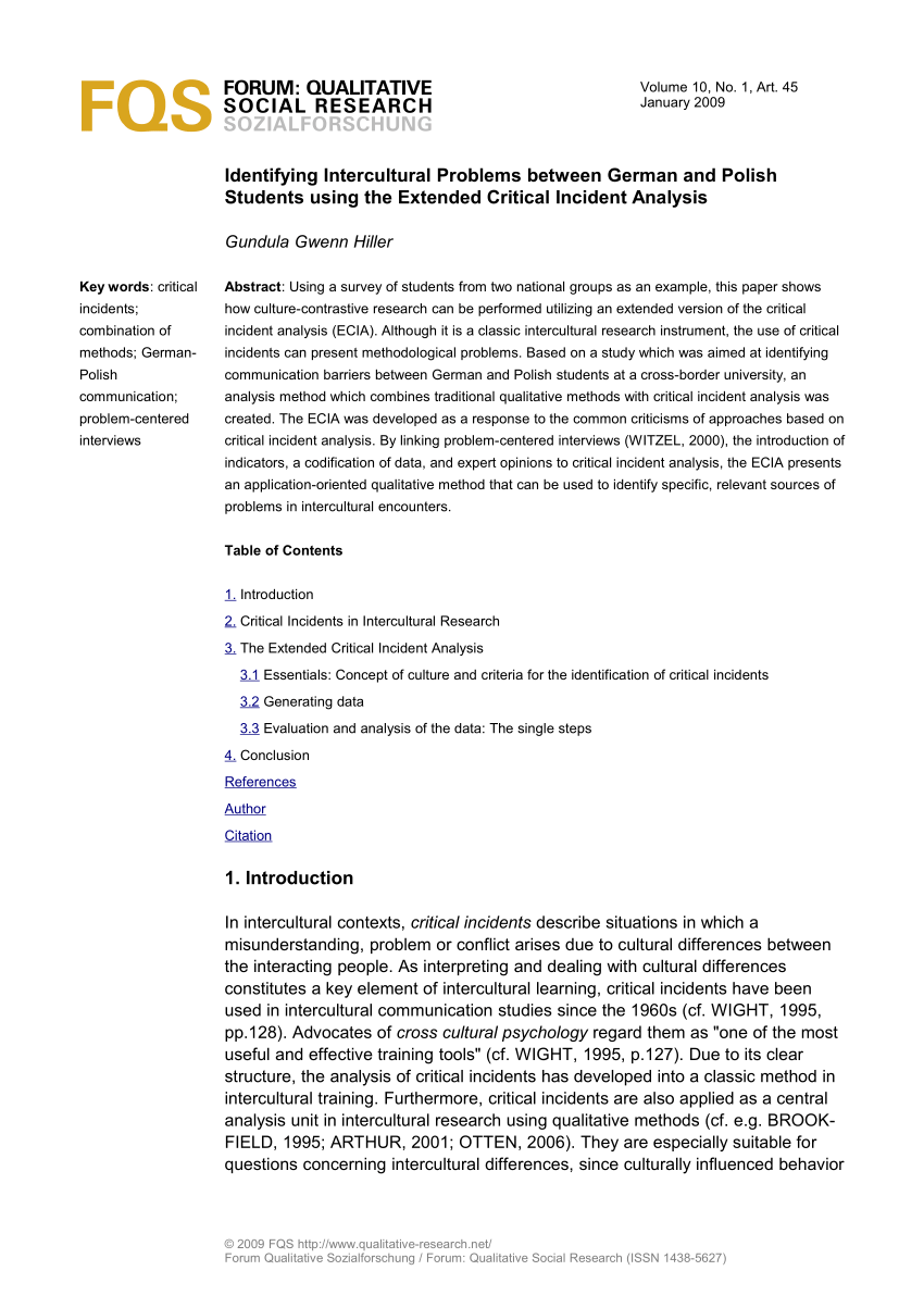 Pdf Identifying Intercultural Problems Between German And Polish Students Using The Extended Critical Incident Analysis