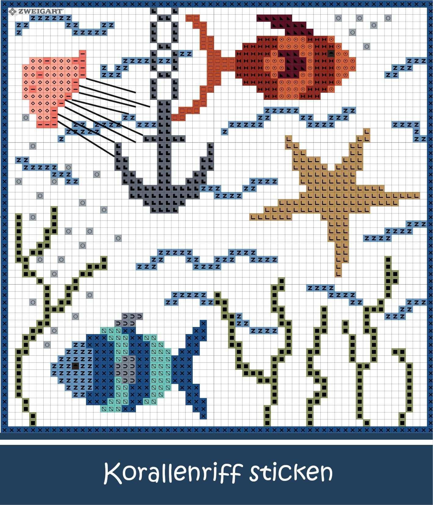 Korallenriff Mit Fischen Sticken Entdecke Zahlreiche Kostenlose Charts Zum Sticken Sticken Alphabet Sticken Stickmuster