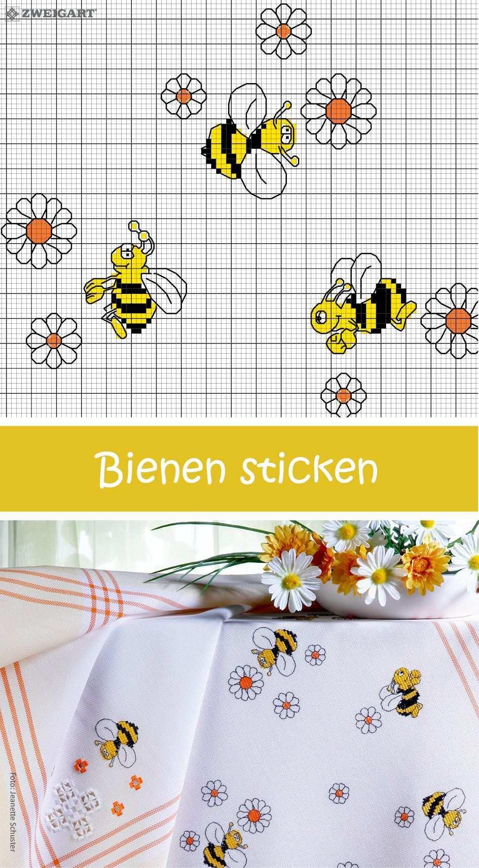 Frohliche Bienen Sticken Entdecke Zahlreiche Kostenlose Charts Zum Sticken Kreuzstich Kuche Kreuzstich Lesezeichen Kleiner Kreuzstich