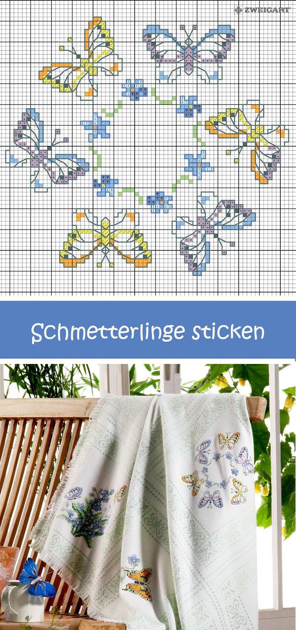 Schmetterlinge Sticken Entdecke Zahlreiche Kostenlose Charts Zum Sticken Sticken Kreuzstich Kreuzstich Tiere Kreuzstichblumen