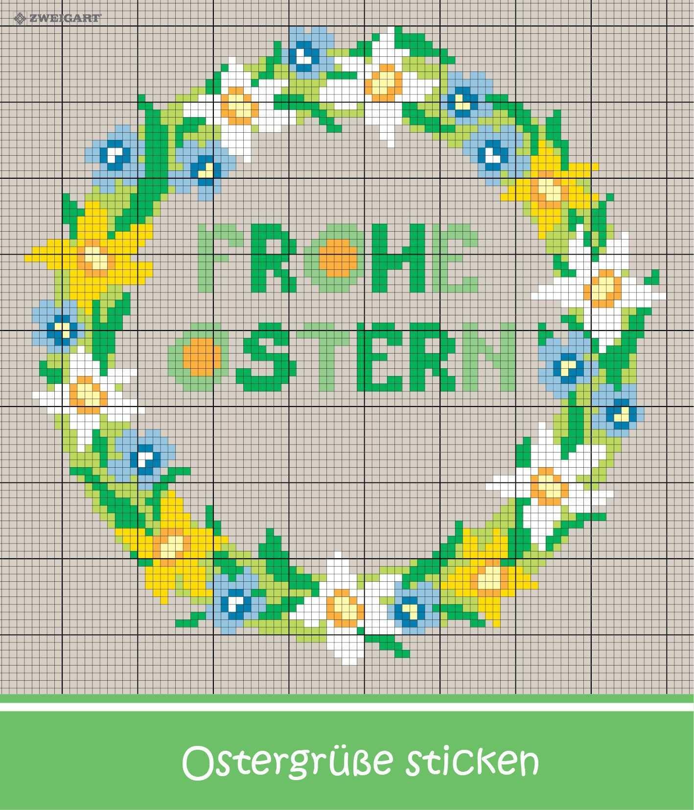 Gruss Zu Ostern Sticken Entdecke Zahlreiche Kostenlose Charts Zum Sticken Kreuzstichblumen Sticken Sticken Kreuzstich
