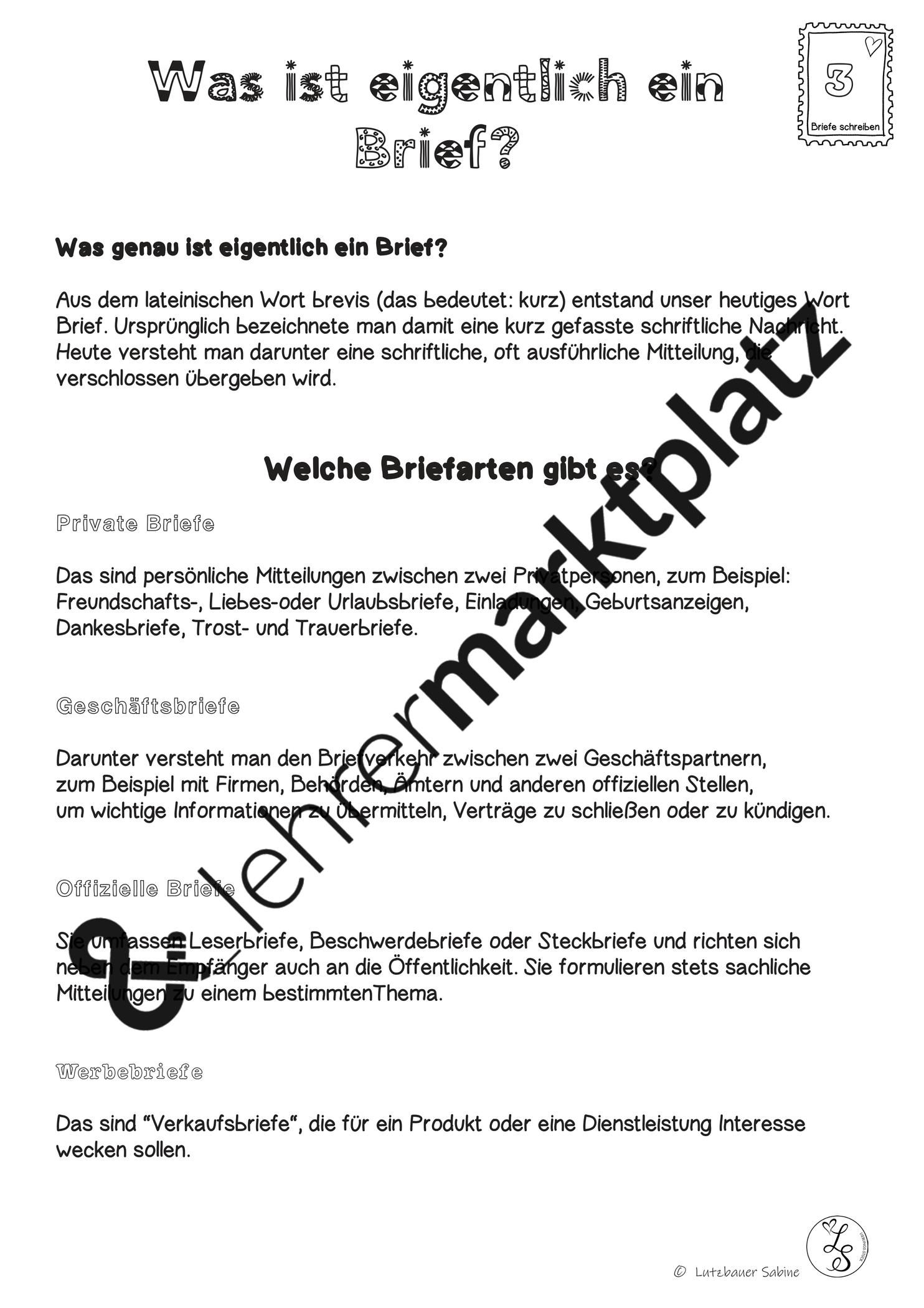 Merktext Briefe Themenplan Unterrichtsmaterial Im Fach Deutsch Briefe Lateinische Worter Ein Brief