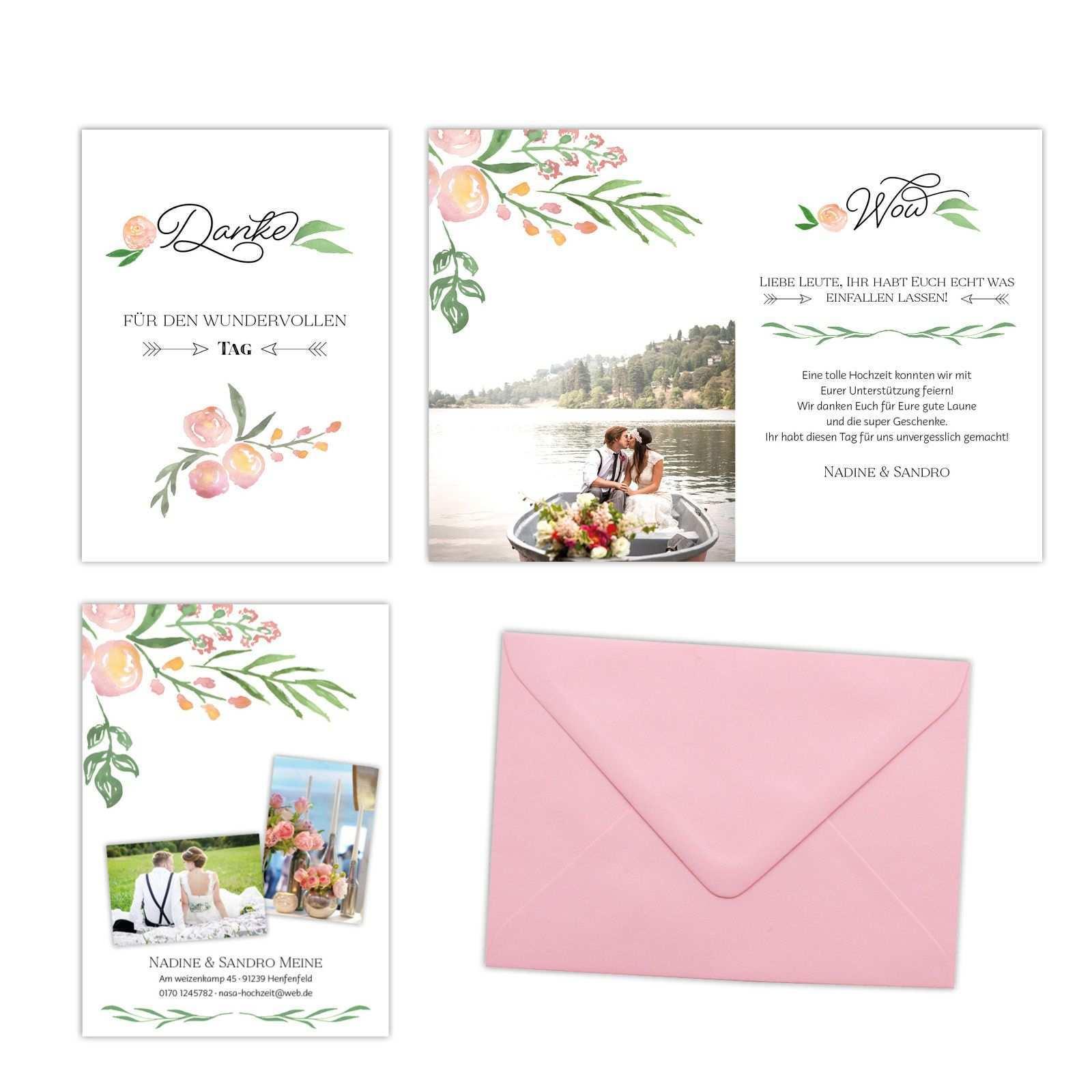 Danksagung Fruhlings Liebe Florales Design Herz Blatt Einladungen Hochzeit Polterabend Einladung Einladung Goldene Hochzeit