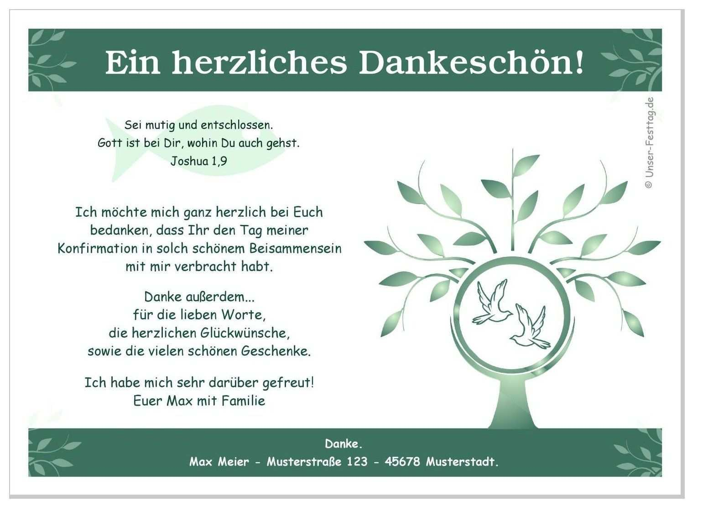 Danksagungen Konfirmation Motiv Baum Danksagung Konfirmation Konfirmation Dankeskarte Konfirmation