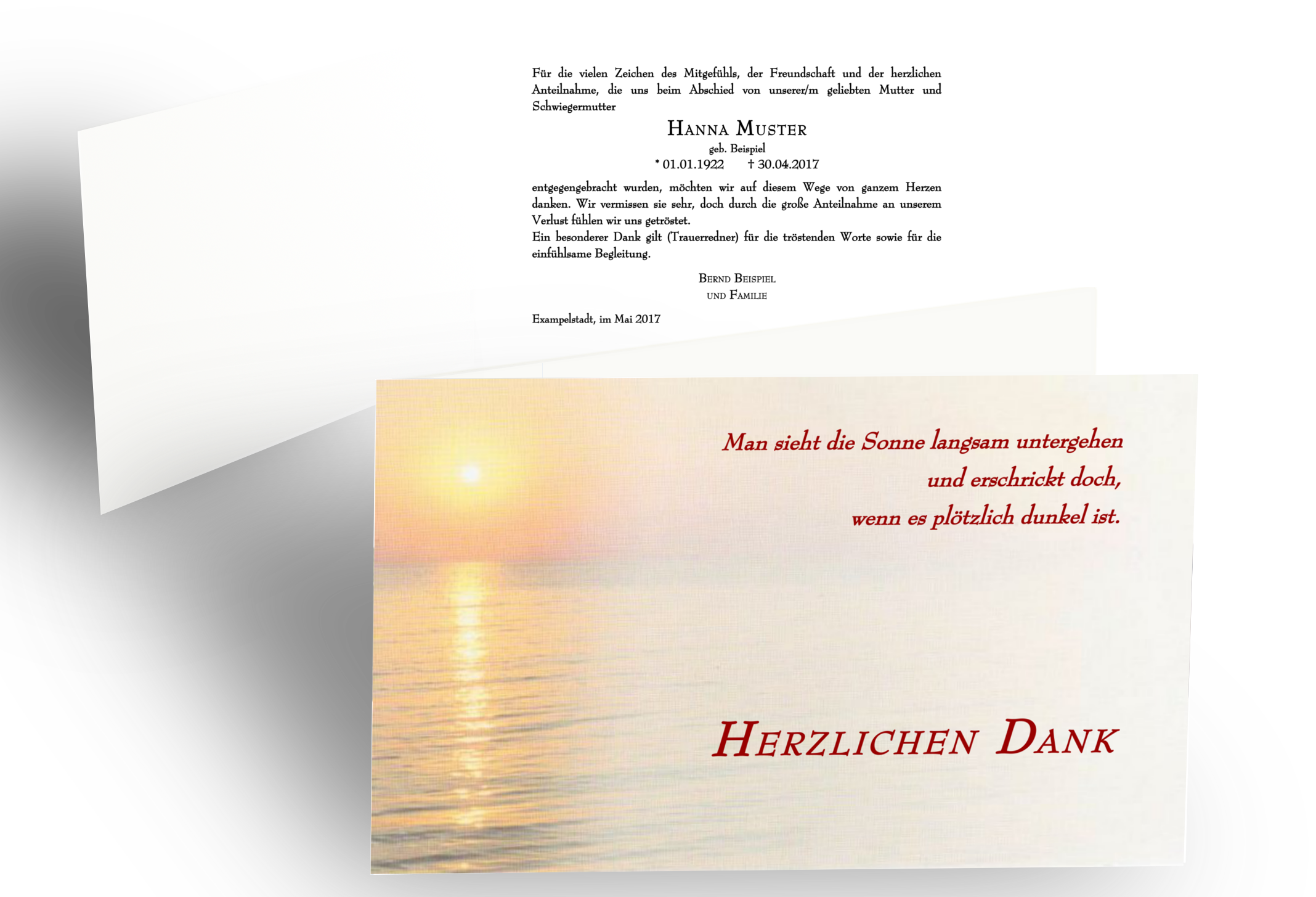 Dankeskarte Beerdigung Sonnenuntergang Trauer Klappkarte Danksagung Text Trostende Worte Danke Sagen