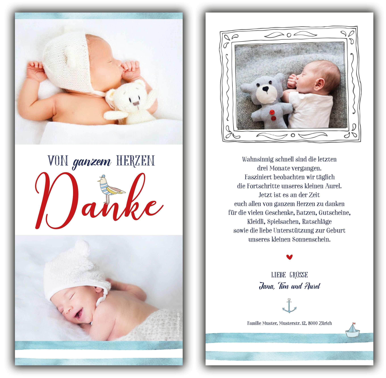 Dankeskarte Aurel Baby Dankeskarten Danke Karte Dankeskarten