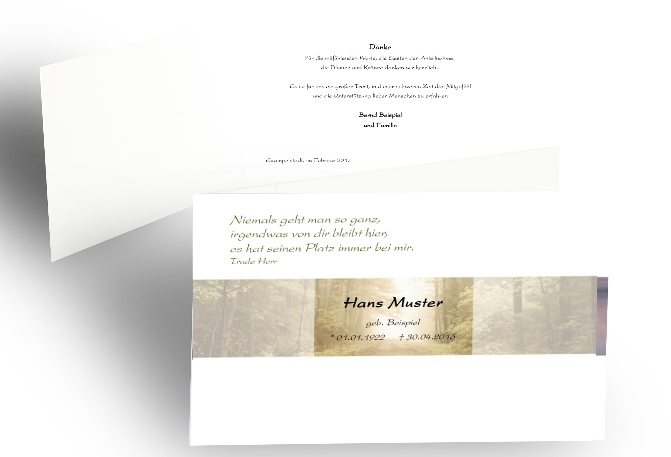 Moderne Trauer Danksagung Wald Natur Baum Doppelkarte Danke Sagen Trauerkarten Danksagung Danksagung Text