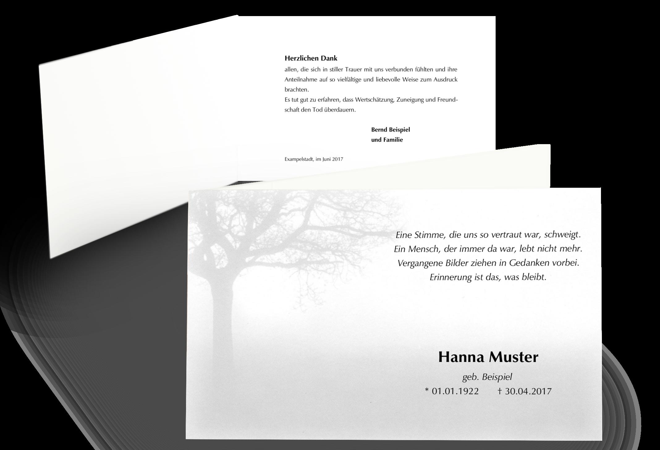 Moderne Trauerdanksagung Baum Im Nebel Klappkarte Trauerkarten Danksagung Danke Sagen Trauer