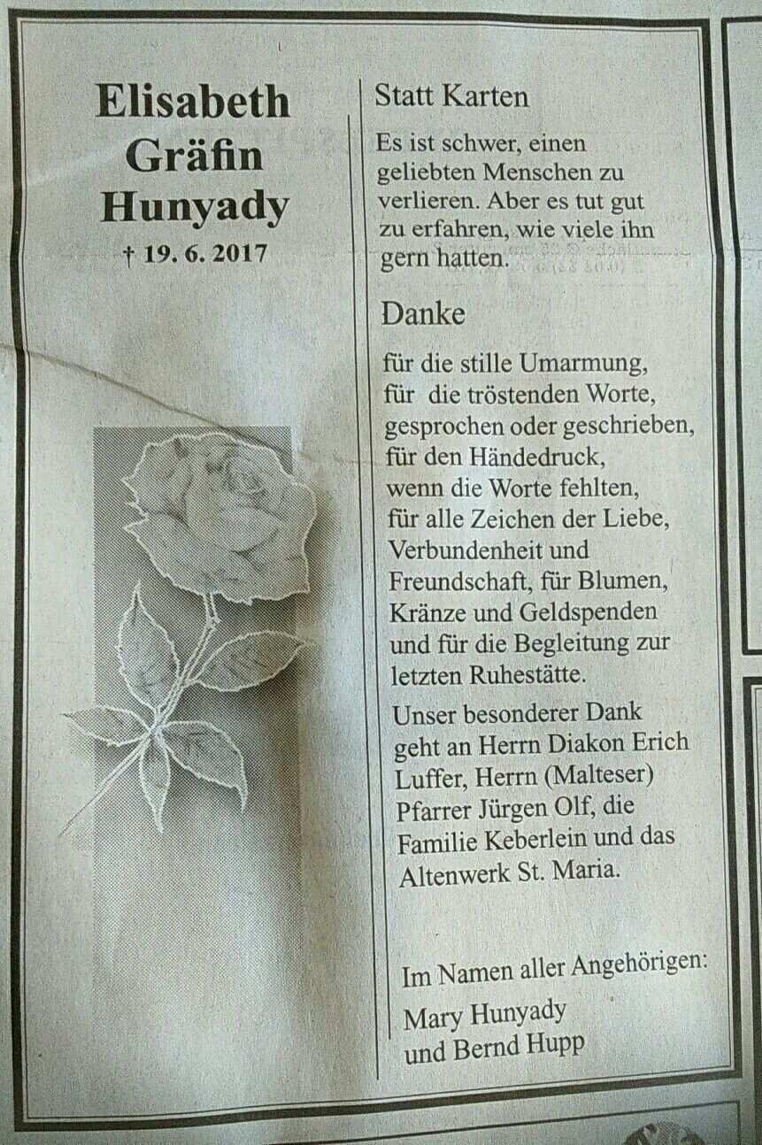 Danksagung Elisabeth Grafin Hunyady Danksagungen Trauer Spruche Trauer Danksagung Trauerfall