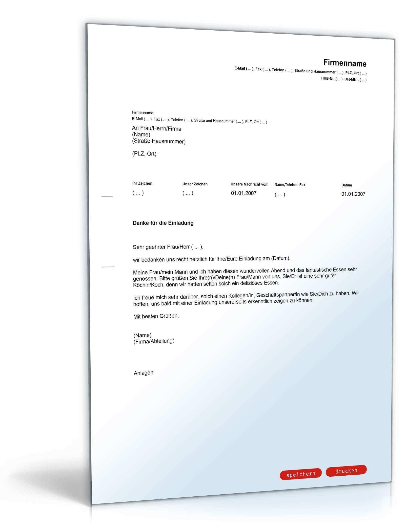 Dankschreiben Nach Einladung Englisch Deutsch Musterbrief Zum Download
