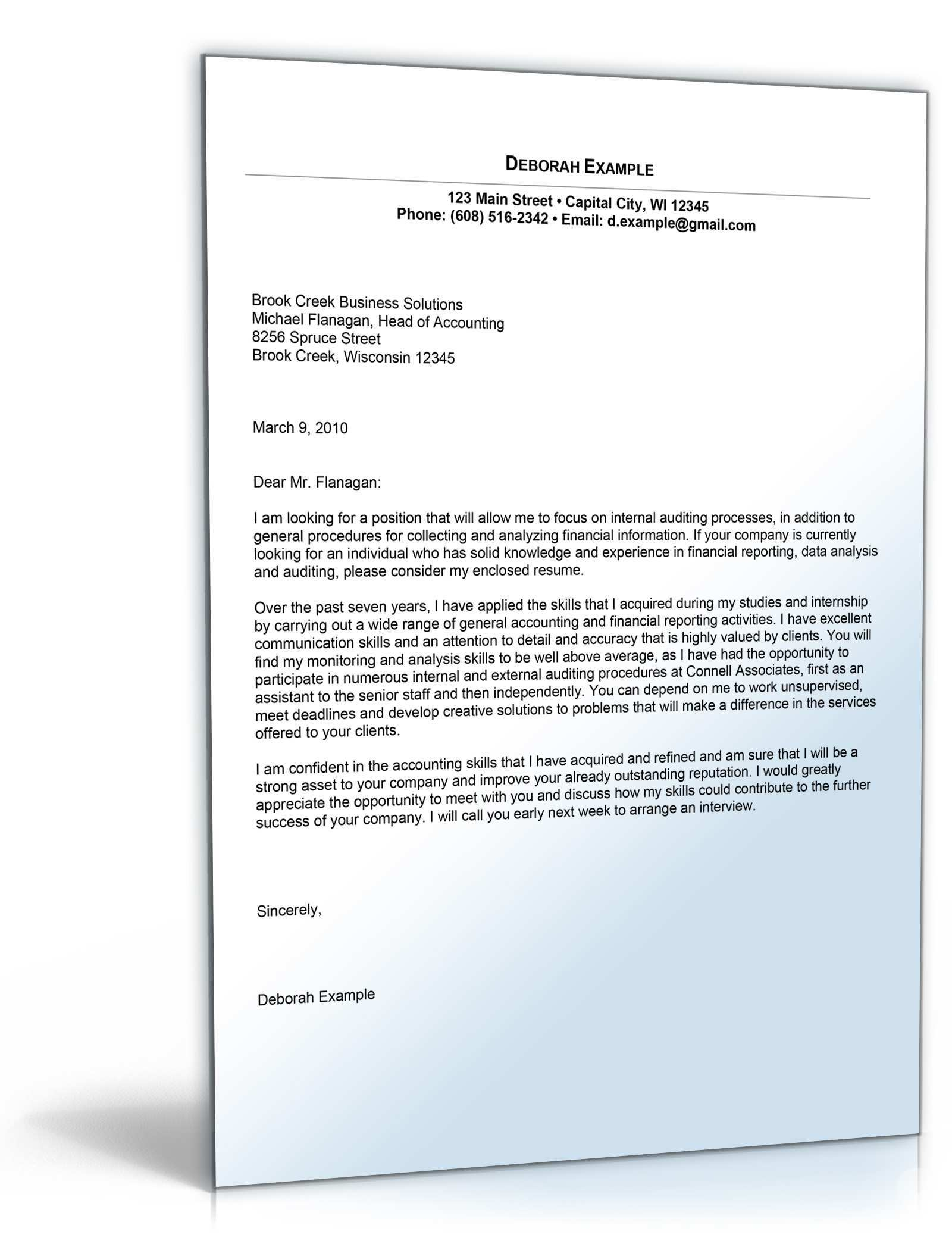 Sample Cover Letter For Accounting Position De Bewerbung Download