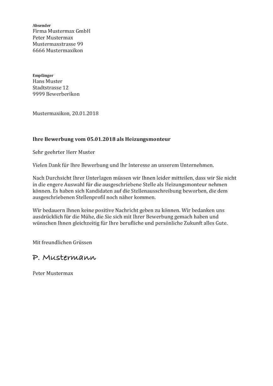 Absage Jobangebot Vorlage