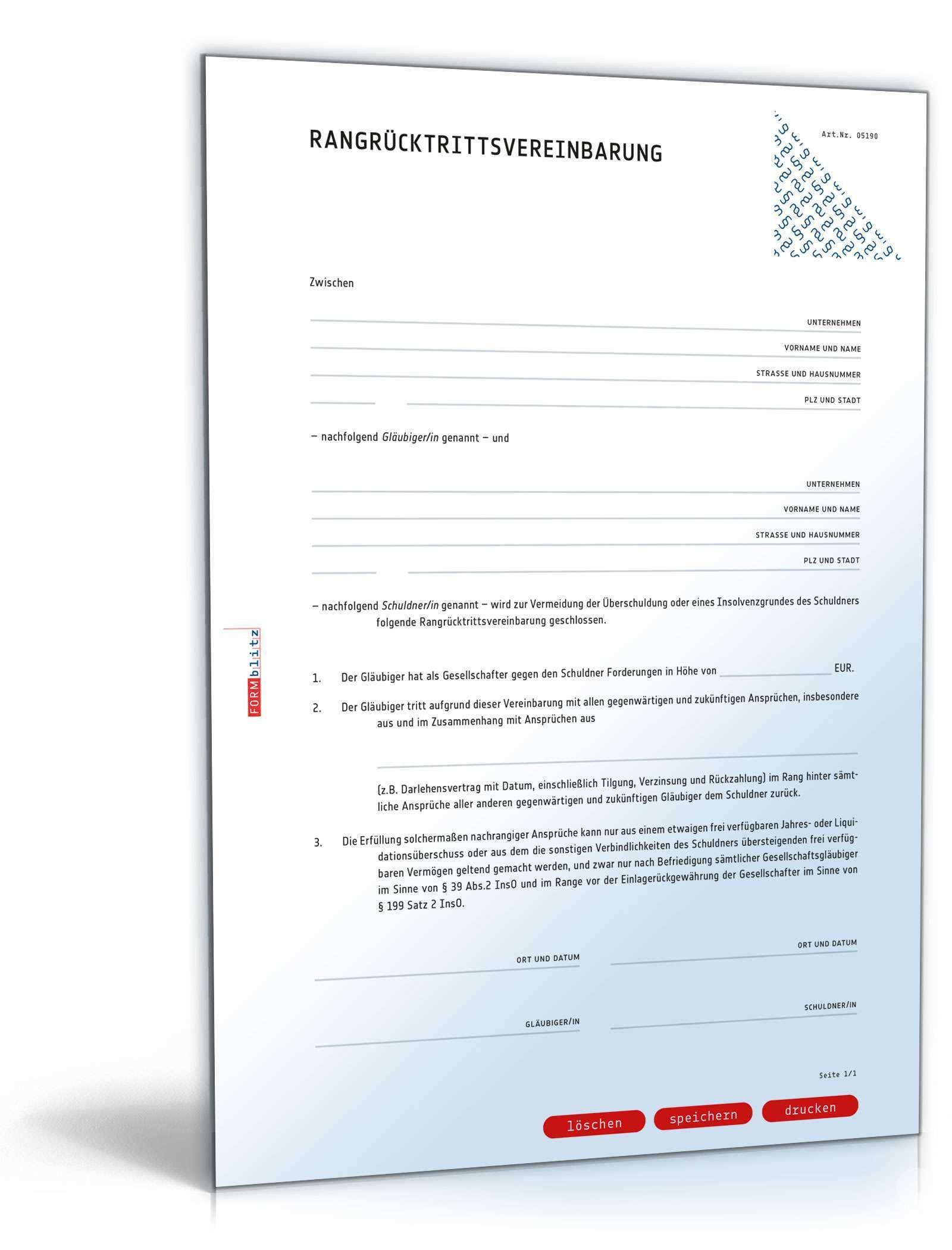Rangrucktrittsvereinbarung Rechtssichere Vorlage Zum Download