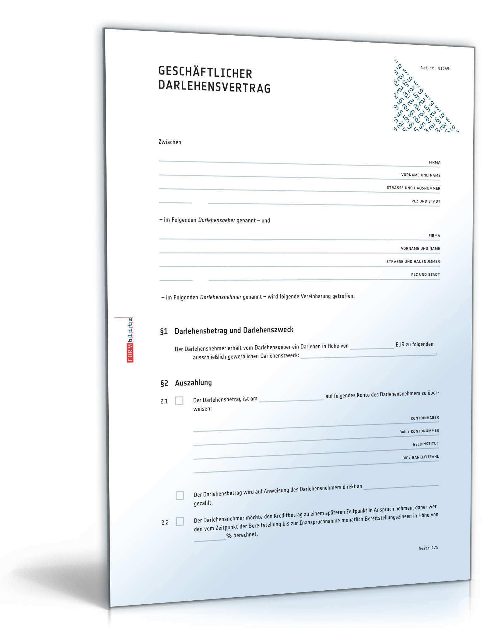 Das Grosse Darlehens Kredit Paket Vorlagen Zum Download