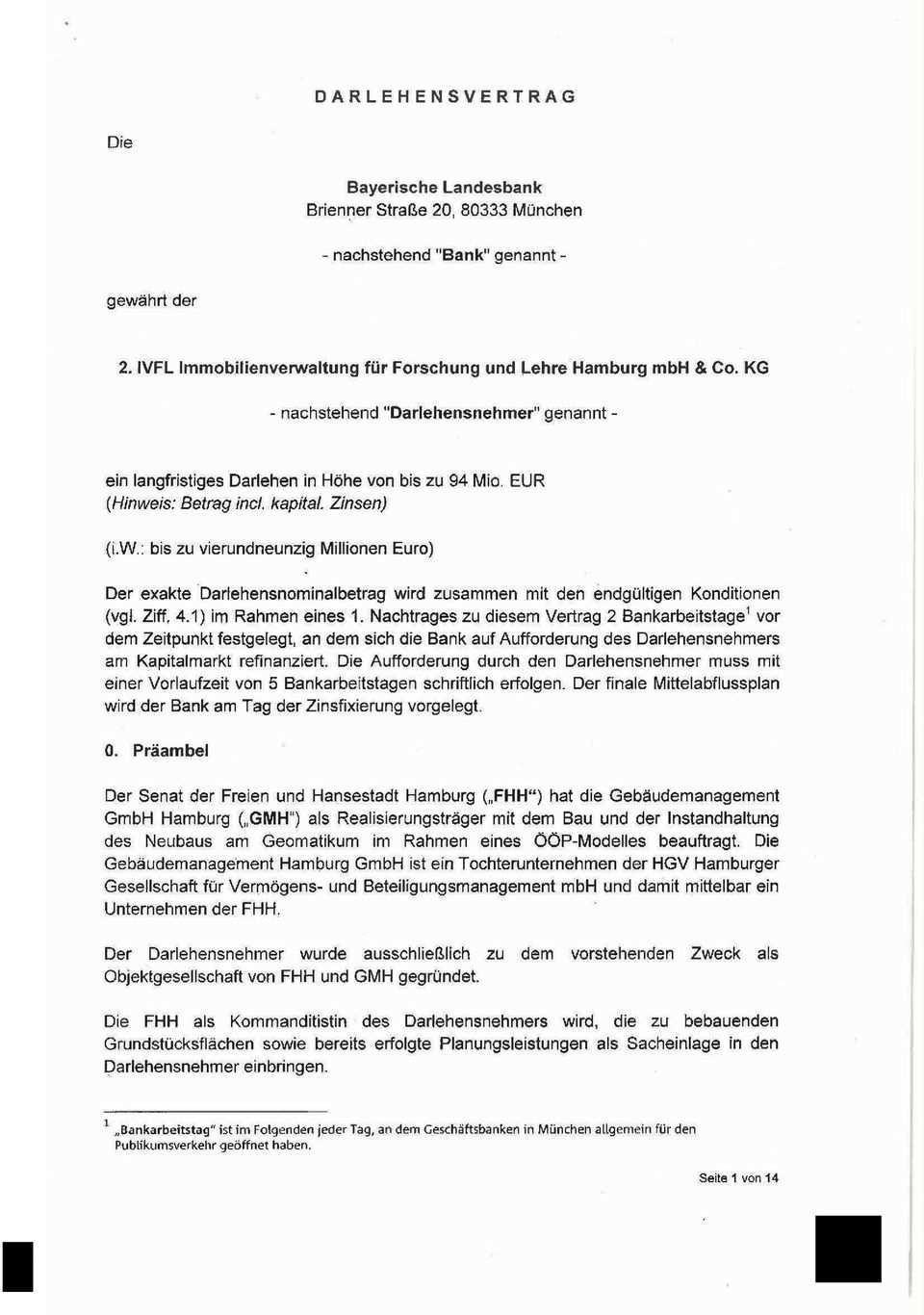 Darlehensvertrag Bayerische Landesbank Brienner Strasse 20 Munchen Nachstehend Bank Genannt Pdf Free Download