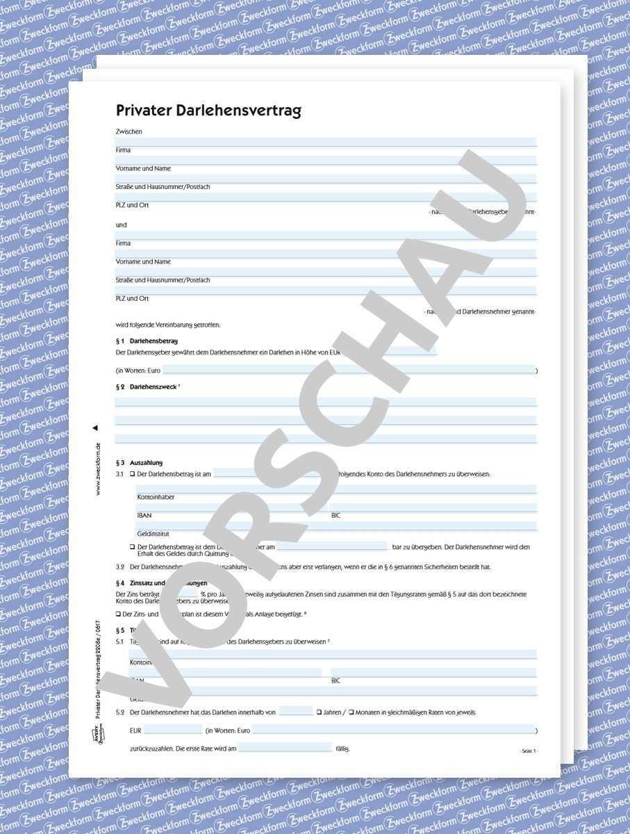 Darlehensvertrag Muster Formular Download Zweckform