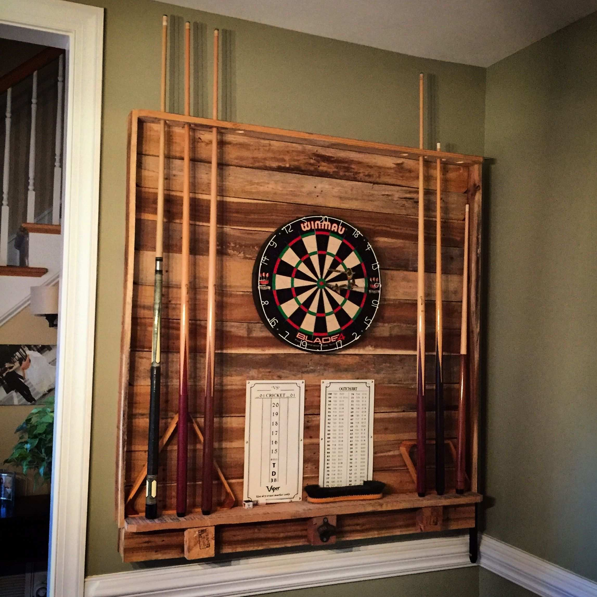 Dart Board Pool Cue Rack Pool Table Room Game Room Basement Man Cave Home Bar