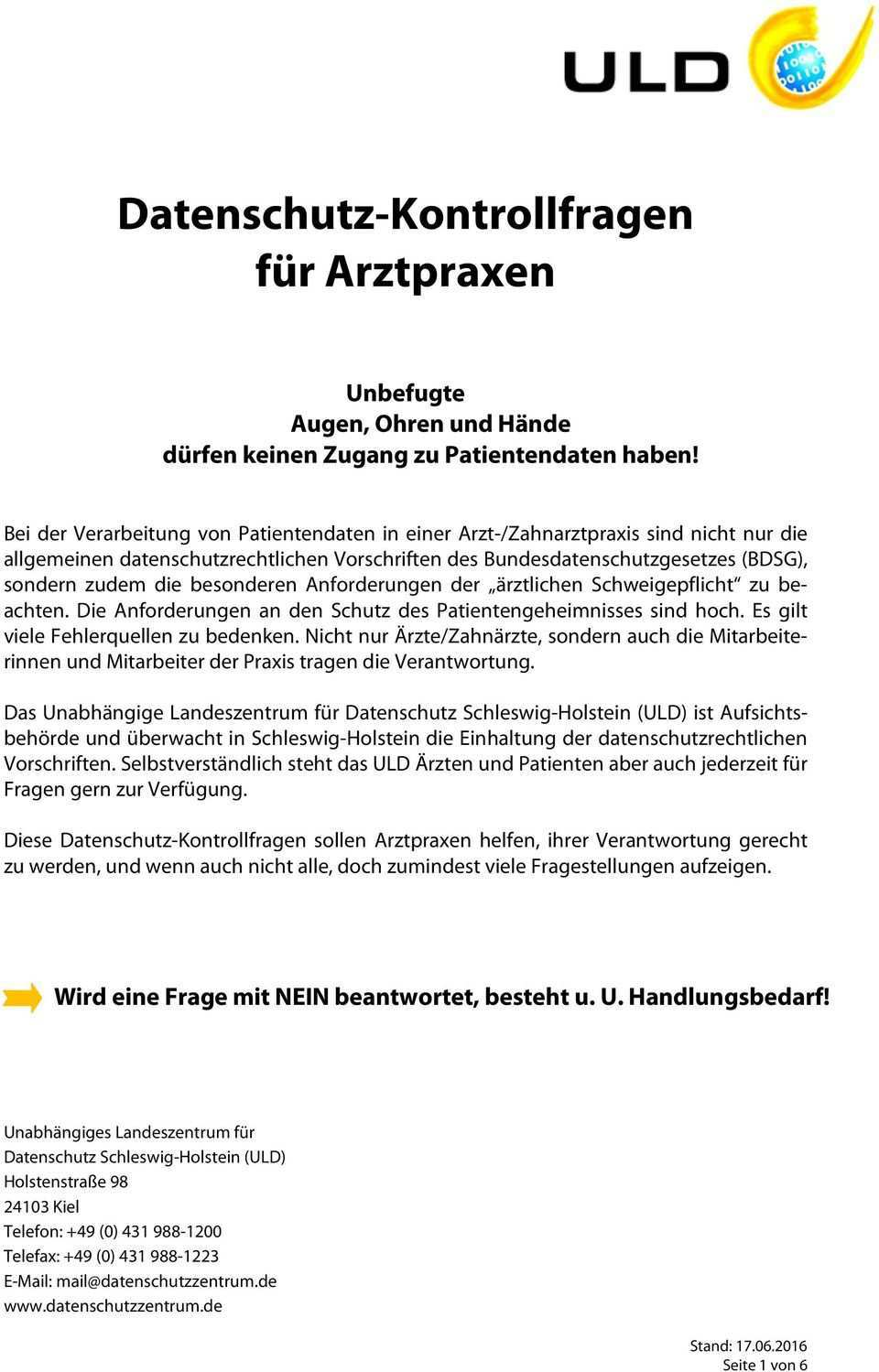 Datenschutz Kontrollfragen Fur Arztpraxen Pdf Kostenfreier Download