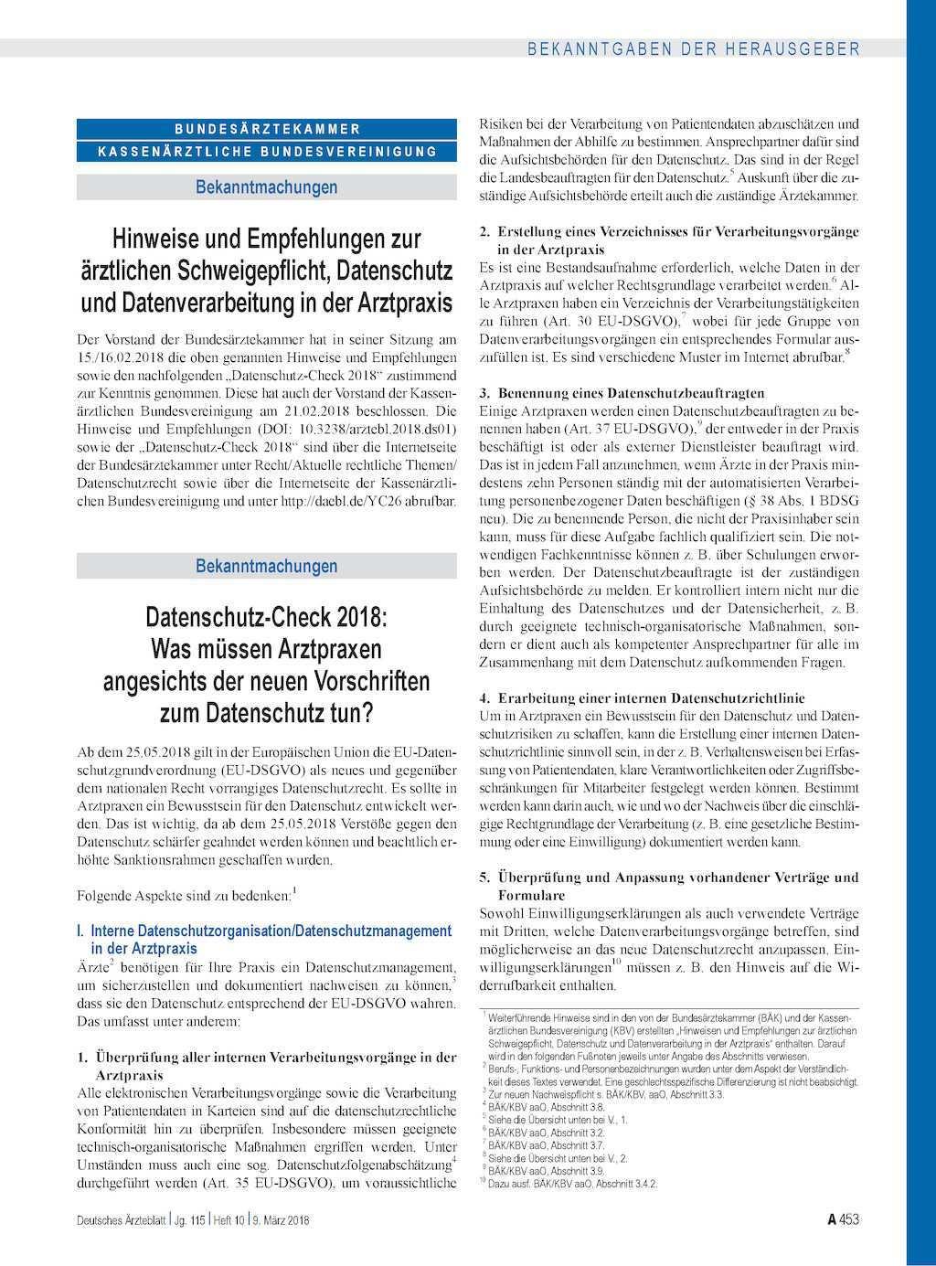 Hinweise Und Empfehlungen Zur Arztlichen Schweigepflicht Datenschutz Und Datenverarbeitung In Der Arztpraxis
