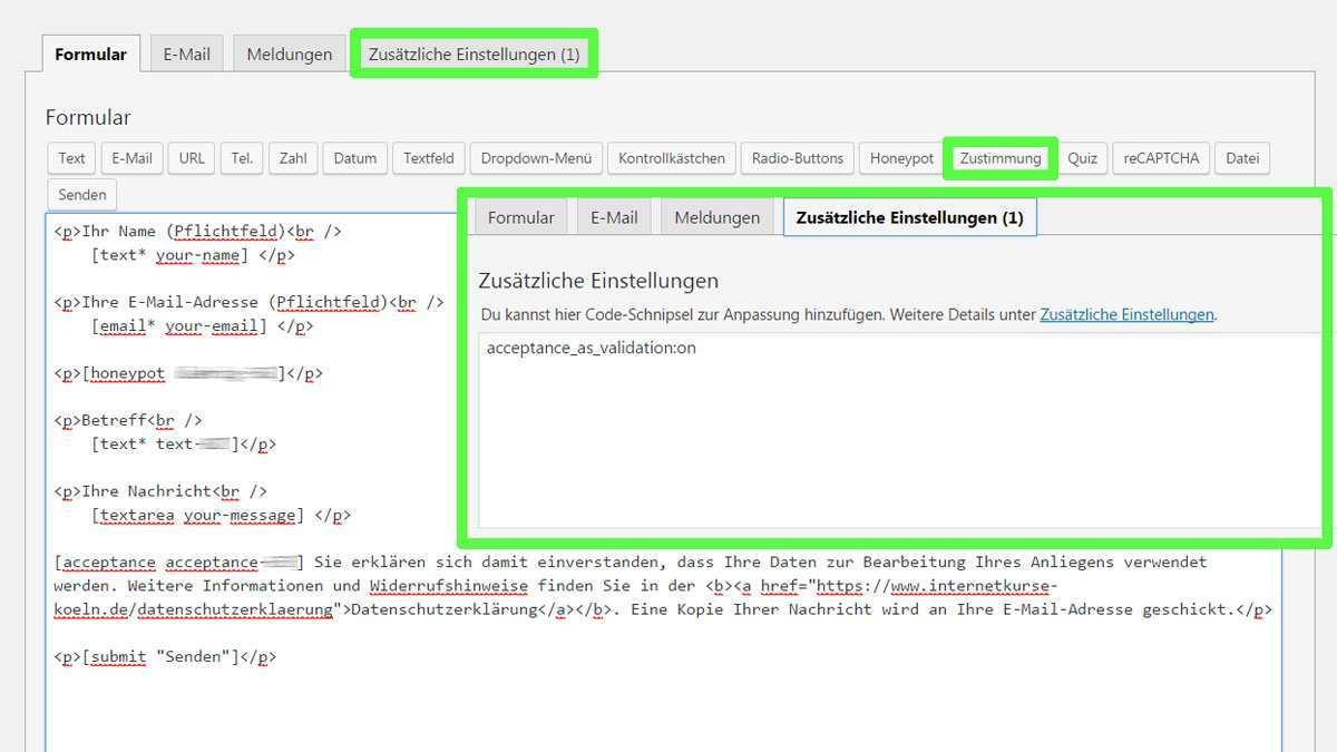 Mit Contact Form 7 Kontaktformular Datenschutz Zustimmen